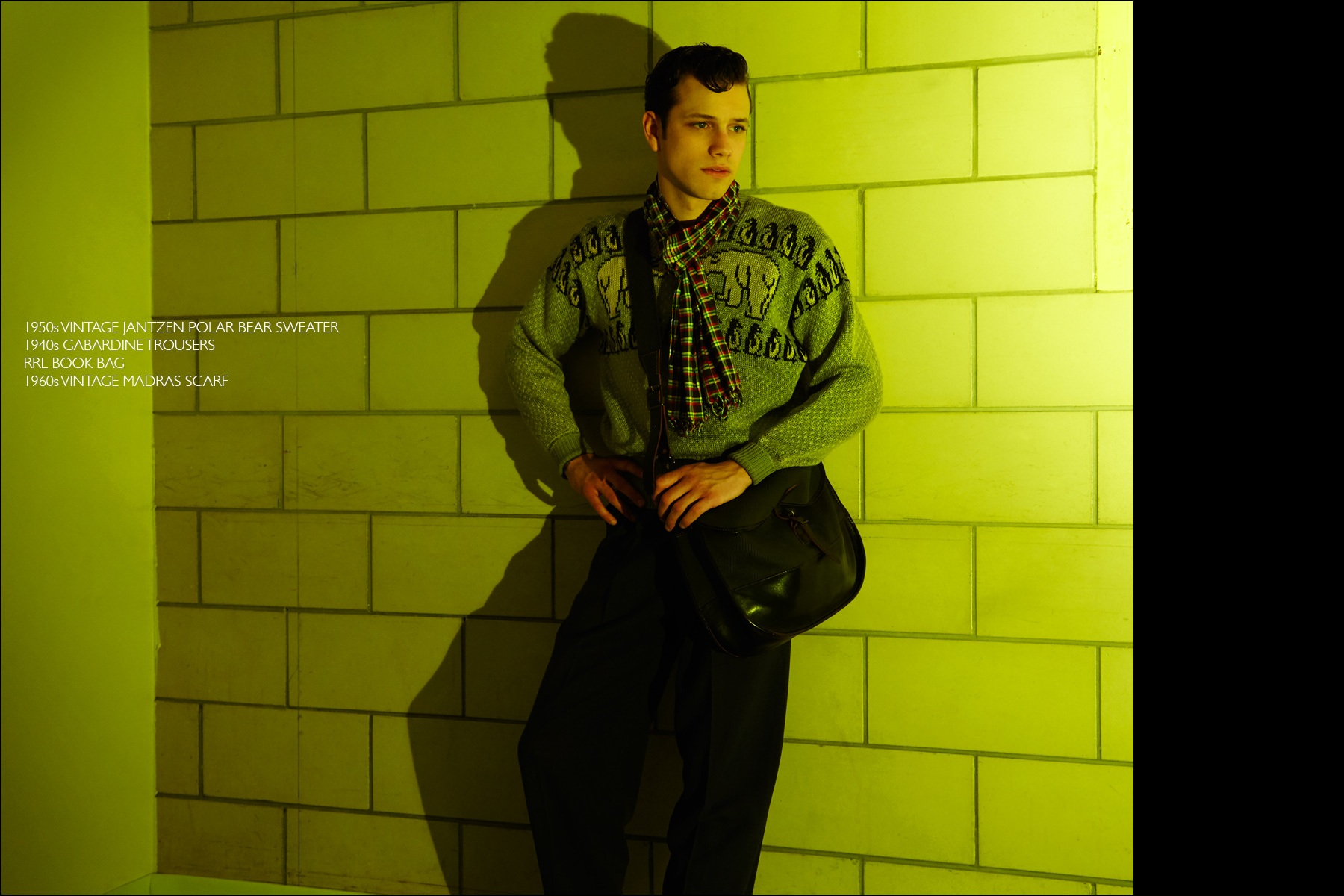 Rockabilly drummer Ben Heymann, from NYC band The Bothers, photographed in vintage clothing from New York City showroom Dated Vintage. Photographed by Alexander Thompson for Ponyboy magazine NY.