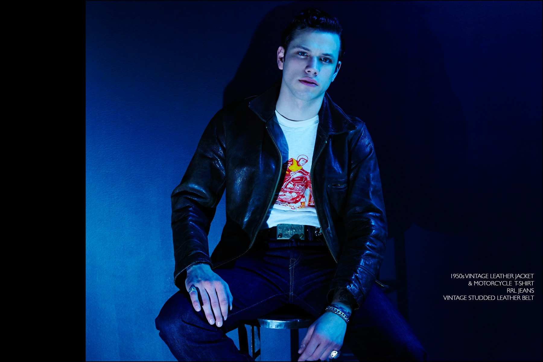 Rockabilly drummer Ben Heymann photographed in vintage clothing from NYC showroom Dated Vintage. Photographed by Alexander Thompson for Ponyboy magazine NY.