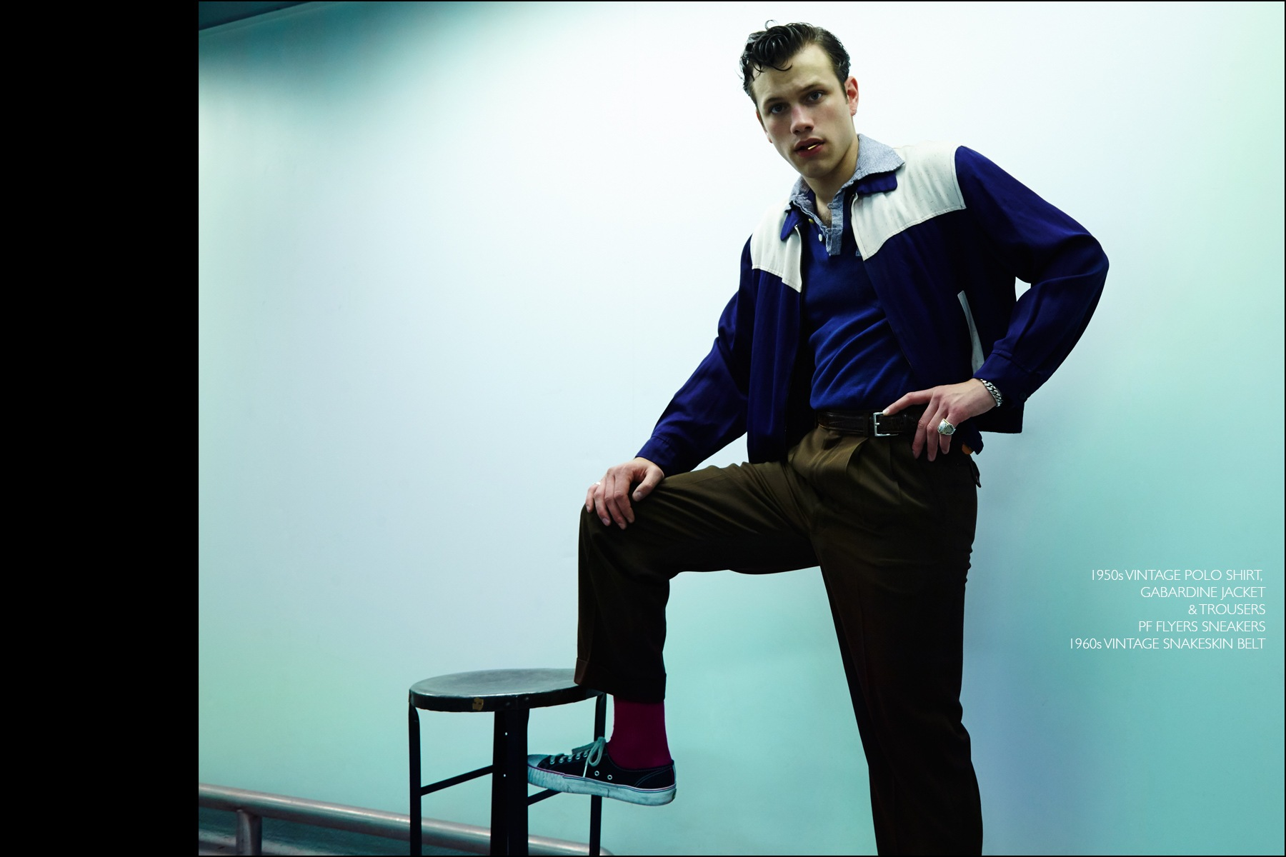 Rockabilly drummer Ben Heymann photographed in vintage clothing from NYC showroom Dated Vintage. Photography by Alexander Thompson for Ponyboy magazine NY.