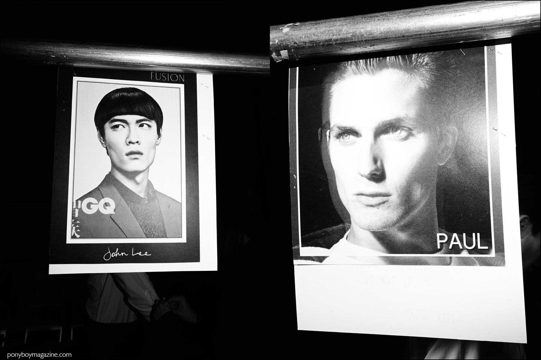 Model comp cards hang backstage at the Duckie Brown F/W16 menswear show. Photography by Alexander Thompson for Ponyboy magazine NY.