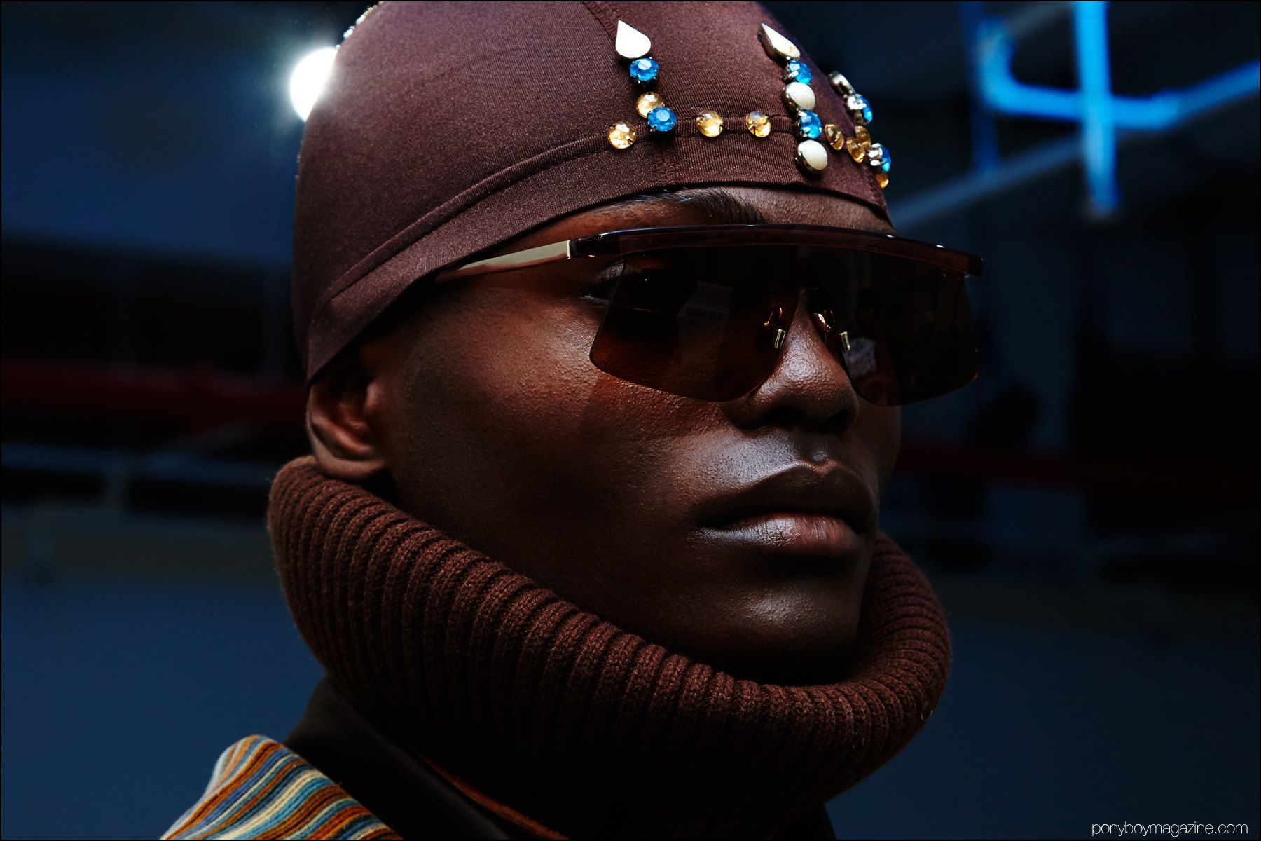 Embellished headwear photographed at Gypsy Sport F/W16 menswear presentation by Alexander Thompson for Ponyboy magazine NY.