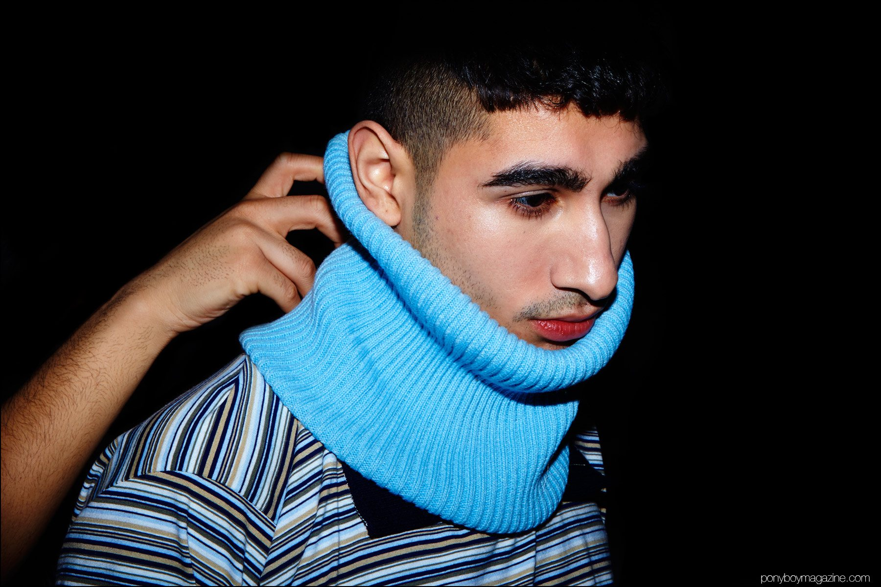 An oversized neck warmer photographed backstage at Gypsy Sport F/W16. Photography by Alexander Thompson for Ponyboy magazine NY.