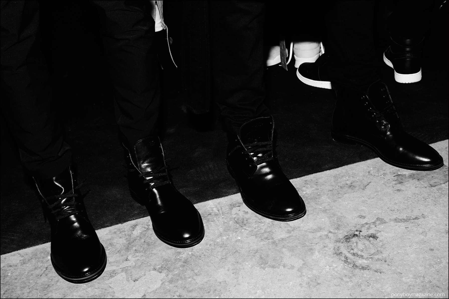 Stampd combat boots, for Fall/Winter 2016. Photographed backstage by Alexander Thompson for Ponyboy magazine NY.