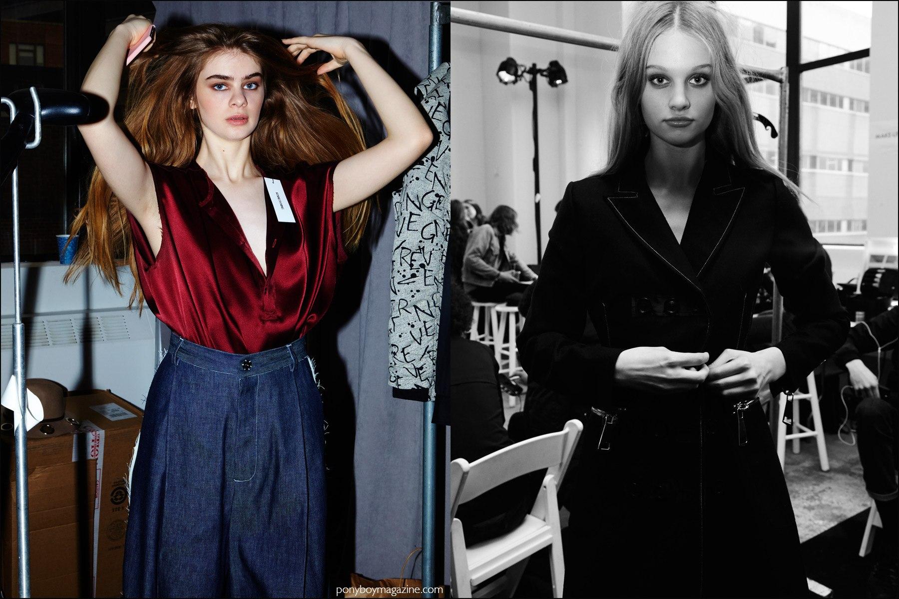 Female models photographed backstage at Kenneth Ning F/W16 show. Photography by Alexander Thompson for Ponyboy magazine NY.