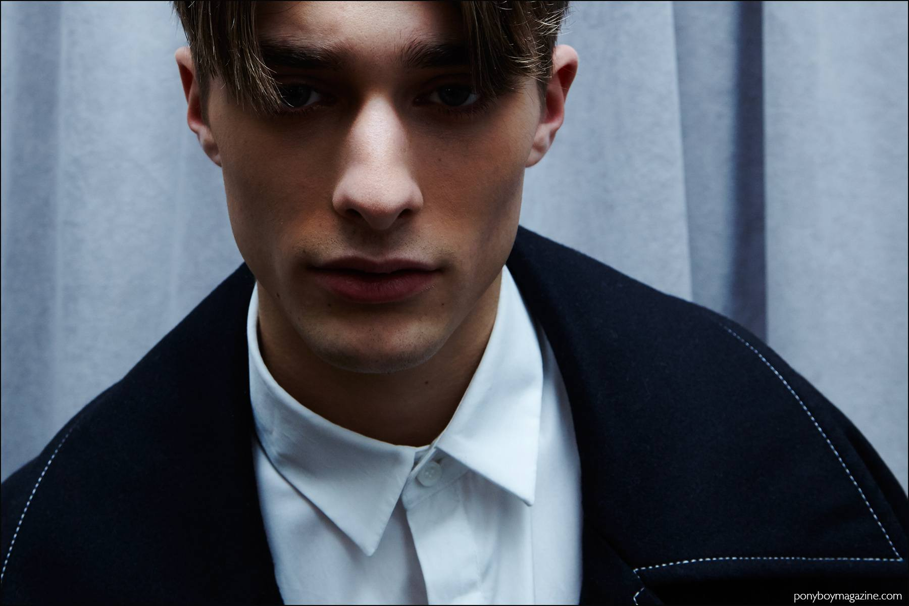 Model Maxence Danet-Fauvel photographed backstage in Kenneth Ning F/W16 menswear. Photography by Alexander Thompson for Ponyboy magazine NY.
