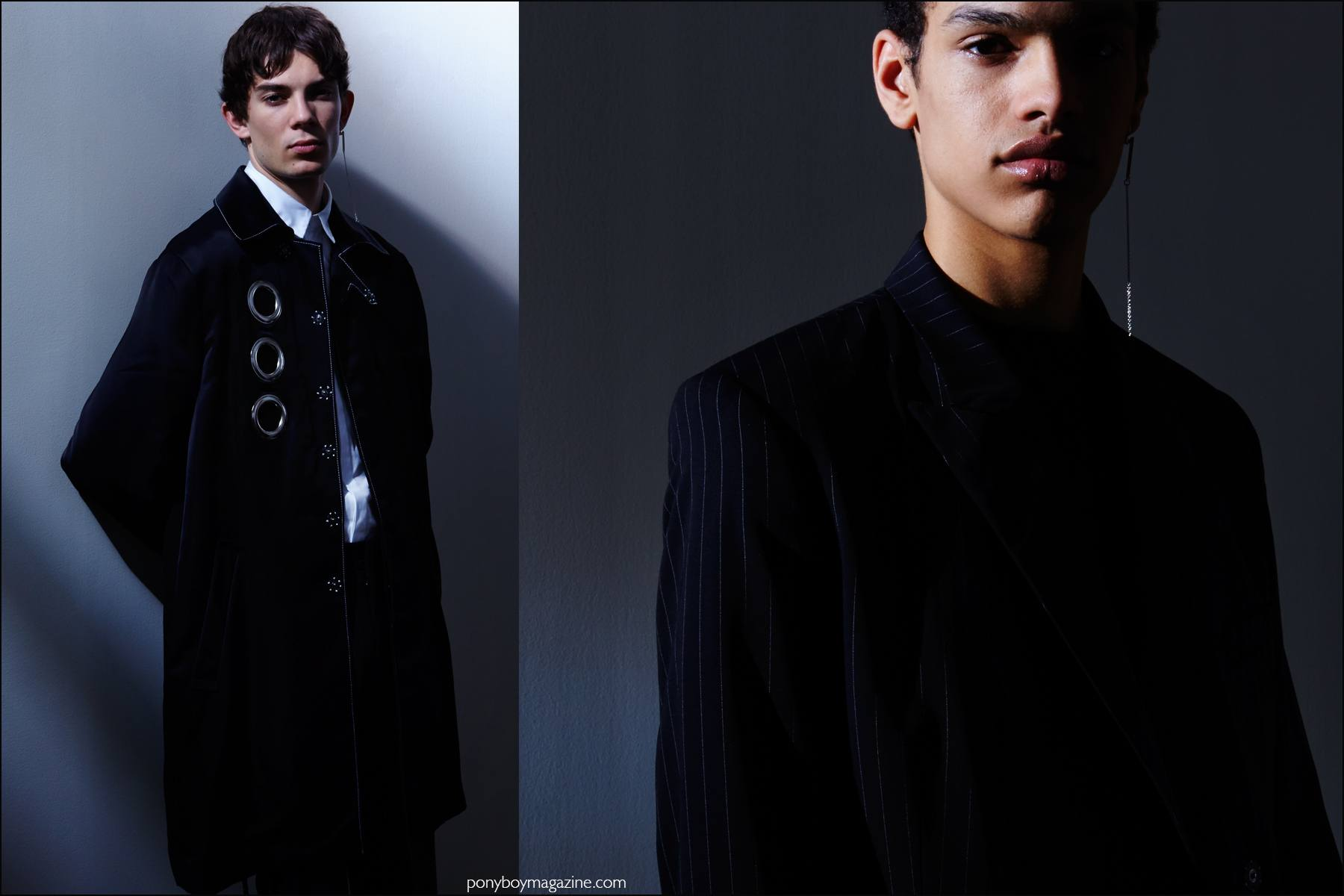 Male models Matthieu Gregoire and Noa Thomas photographed at the Kenneth Ning F/W16 menswear presentation by Alexander Thompson for Ponyboy magazine NY.