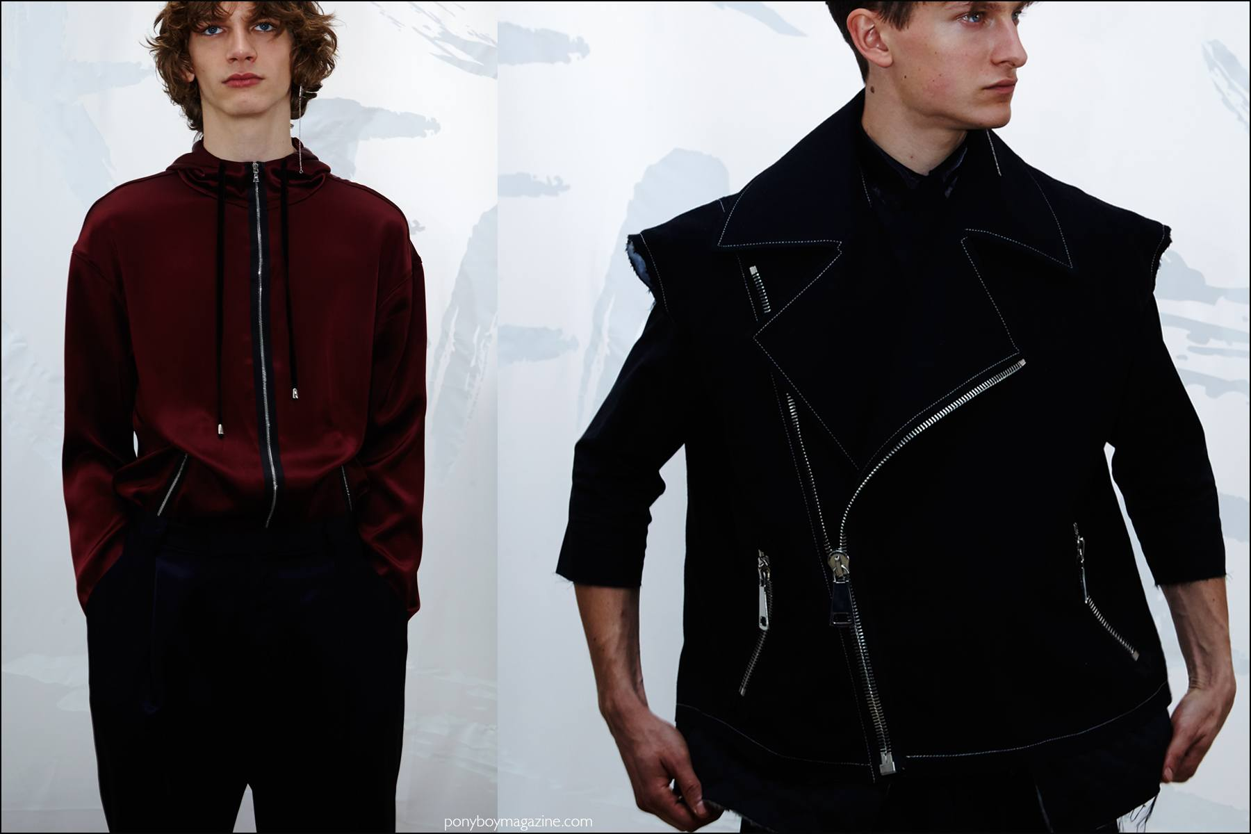 Models Erik van Gils and Dmitry Brylev photographed at the Kenneth Ning F/W16 menswear presentation. Photography by Alexander Thompson for Ponyboy magazine NY.