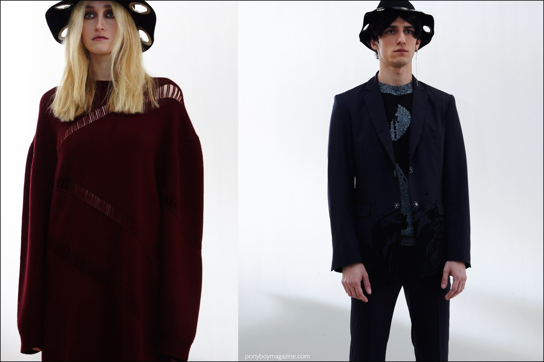 Models photographed at the Kenneth Ning Fall/Winter 2016 presentation by Alexander Thompson for Ponyboy magazine NY.