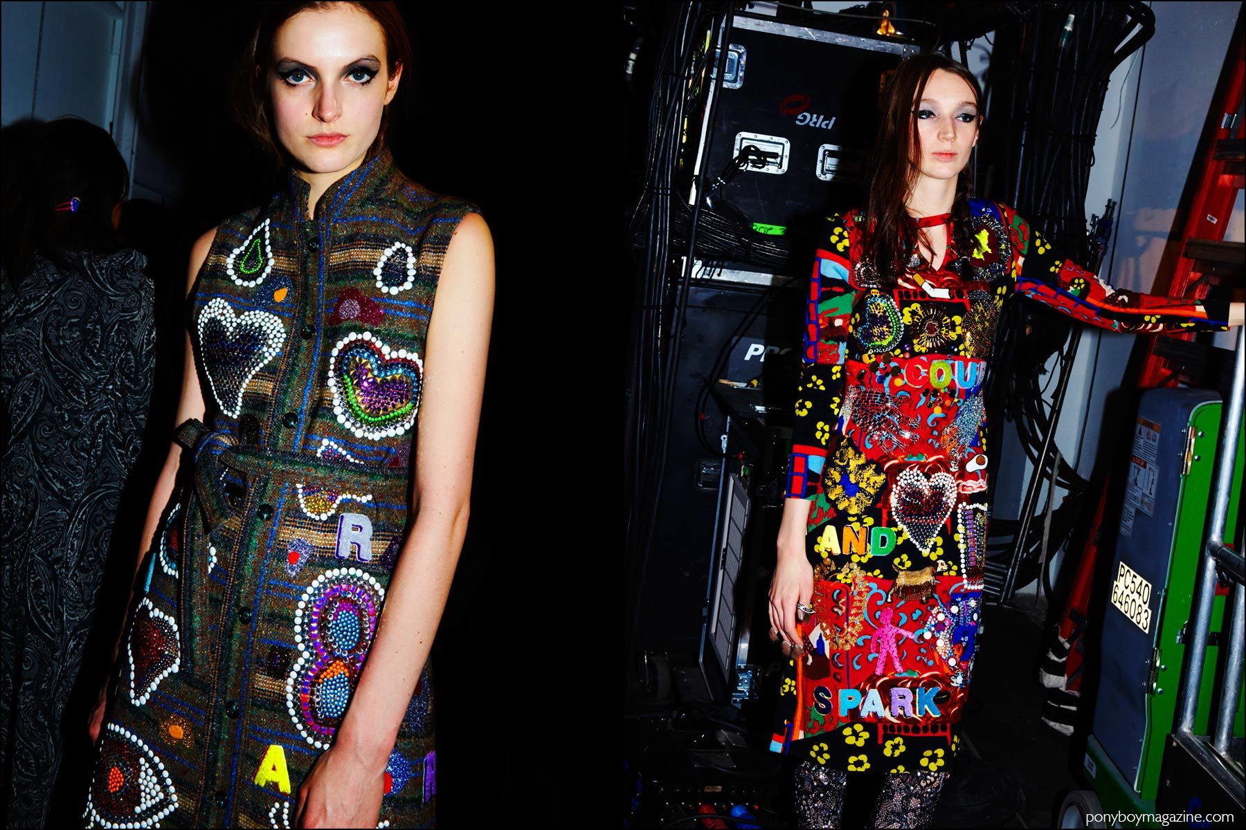 Models wear colorful embellished dresses backstage at the Libertine Fall/Winter 2016 show. Photographs by Alexander Thompson for Ponyboy magazine NY.