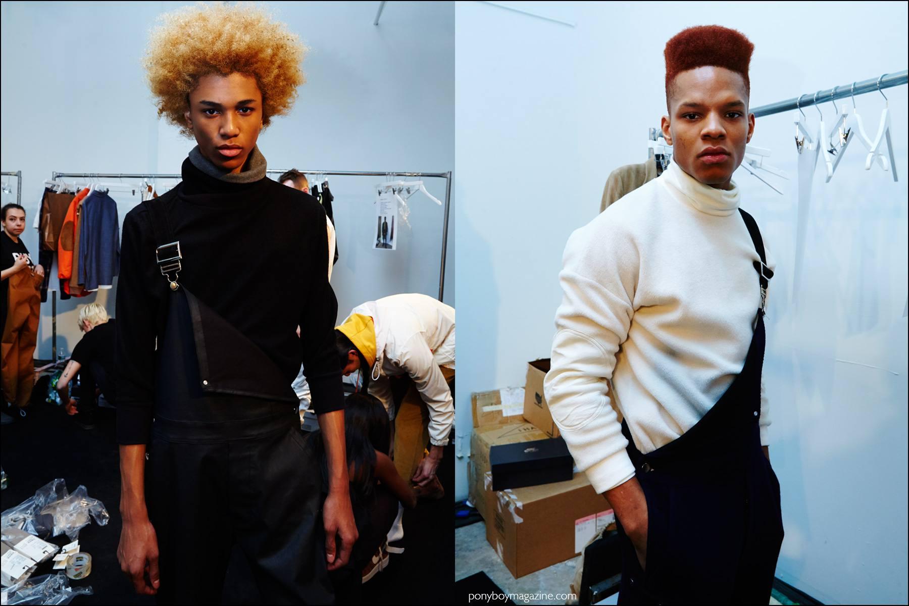 Model Michael Lockley snapped backstage at Rochambeau F/W16 menswear show by Alexander Thompson for Ponyboy magazine NY.