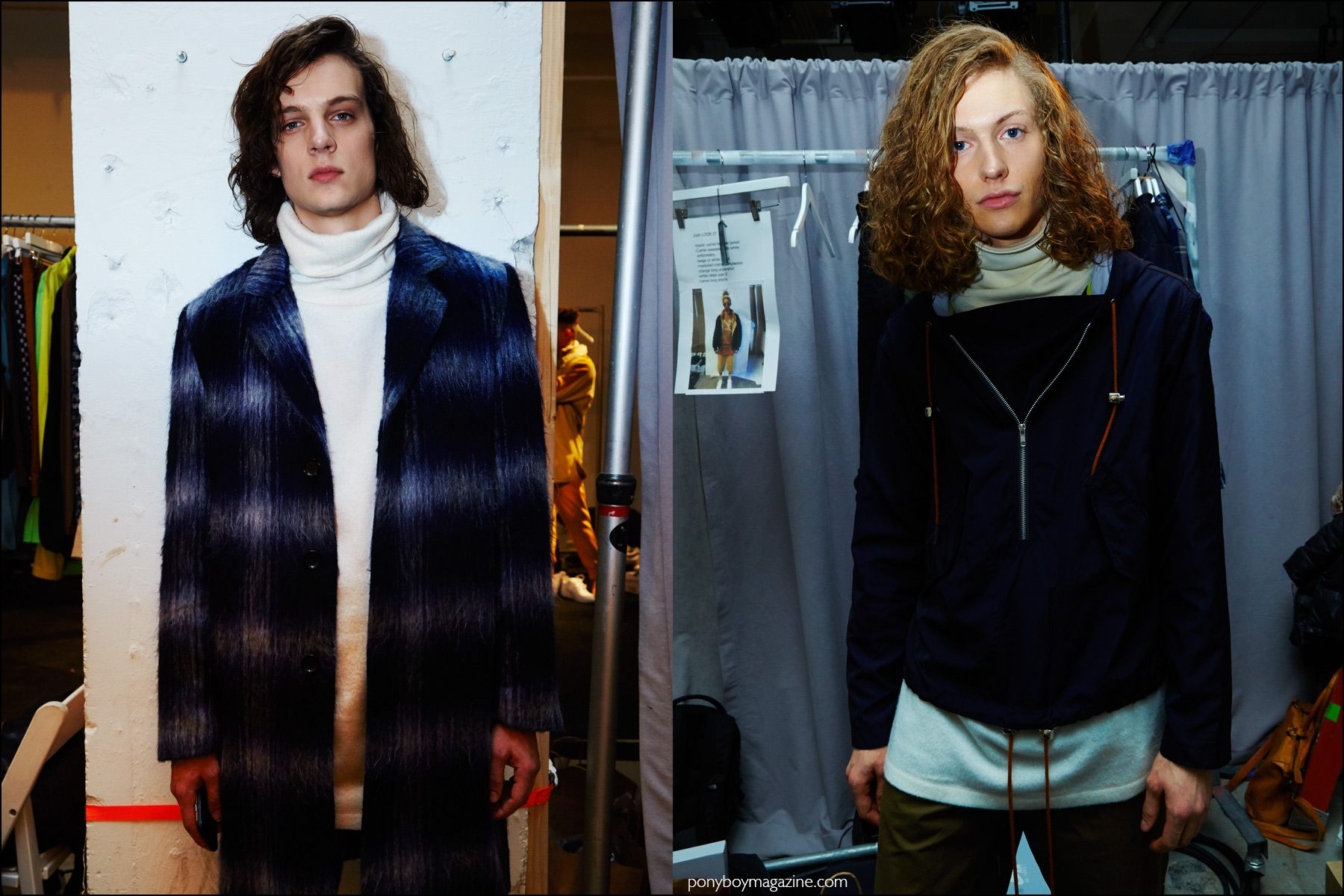 Long-haired male model Jeroen Teerlinck snapped backstage in Rochambeau F/W16 menswear. Photography by Alexander Thompson for Ponyboy magazine NY.