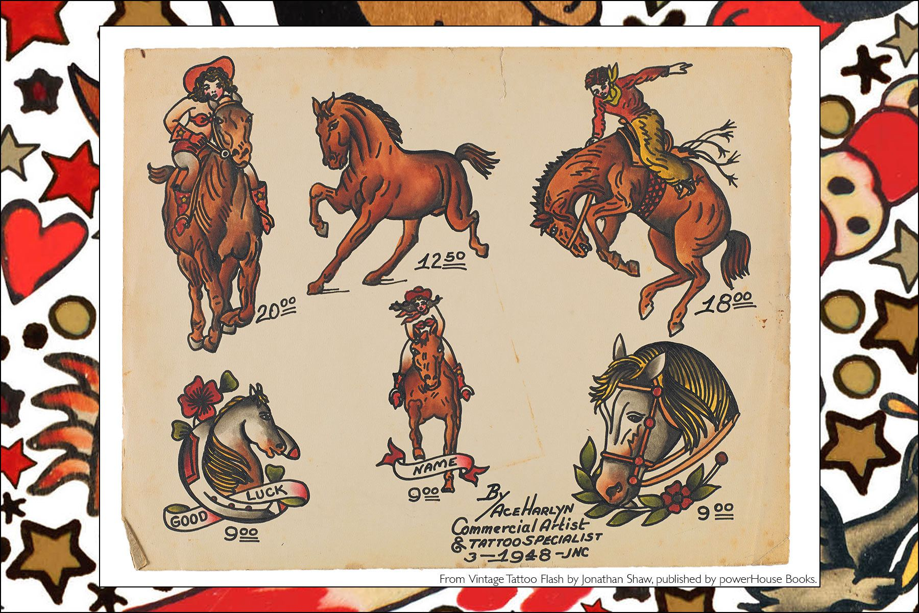 Tattoo flash of horses, from the collection of Jonathan Shaw's publication Vintage Tattoo Flash from Powerhouse Books. Ponyboy magazine NY.