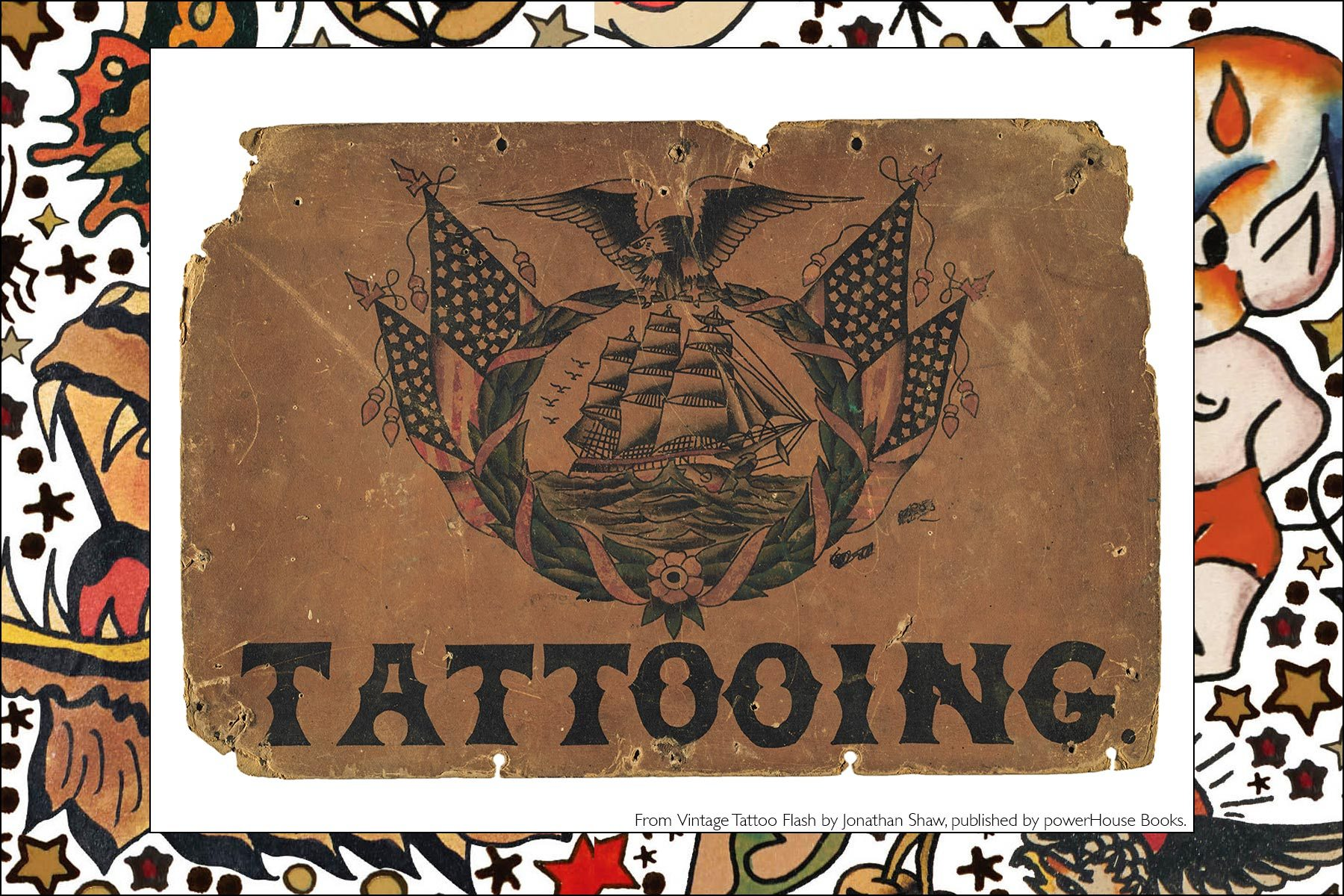 Vintage tattoo flash from the newly released publication by Powerhouse Books, Vintage Tattoo Flash by Jonathan Shaw. Ponyboy magazine NY.