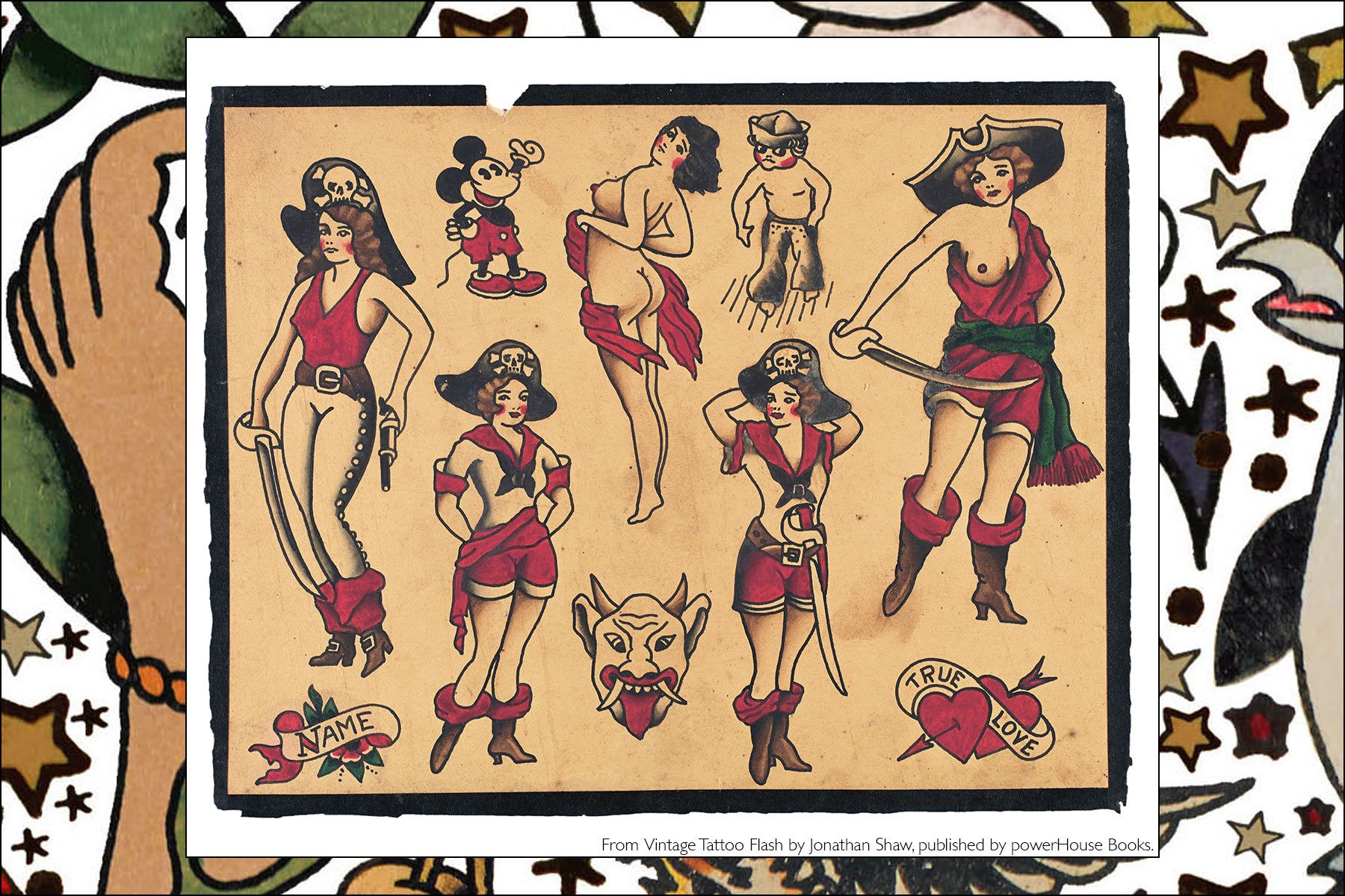 Tattoo flash from the newly released publication, Vintage Tattoo Flash by Jonathan Shaw, from Powerhouse Books. Ponyboy magazine NY.