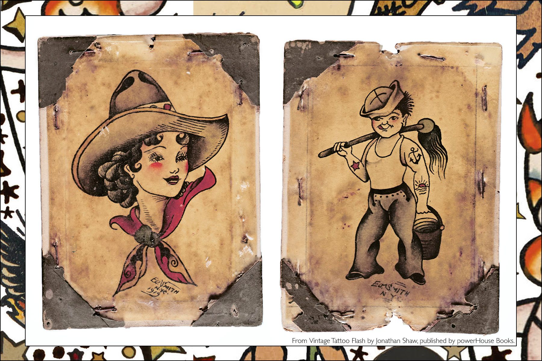 From the newly released publication, Vintage Tattoo Flash by Jonathan Shaw, from Powerhouse Books. Ponyboy magazine NY.
