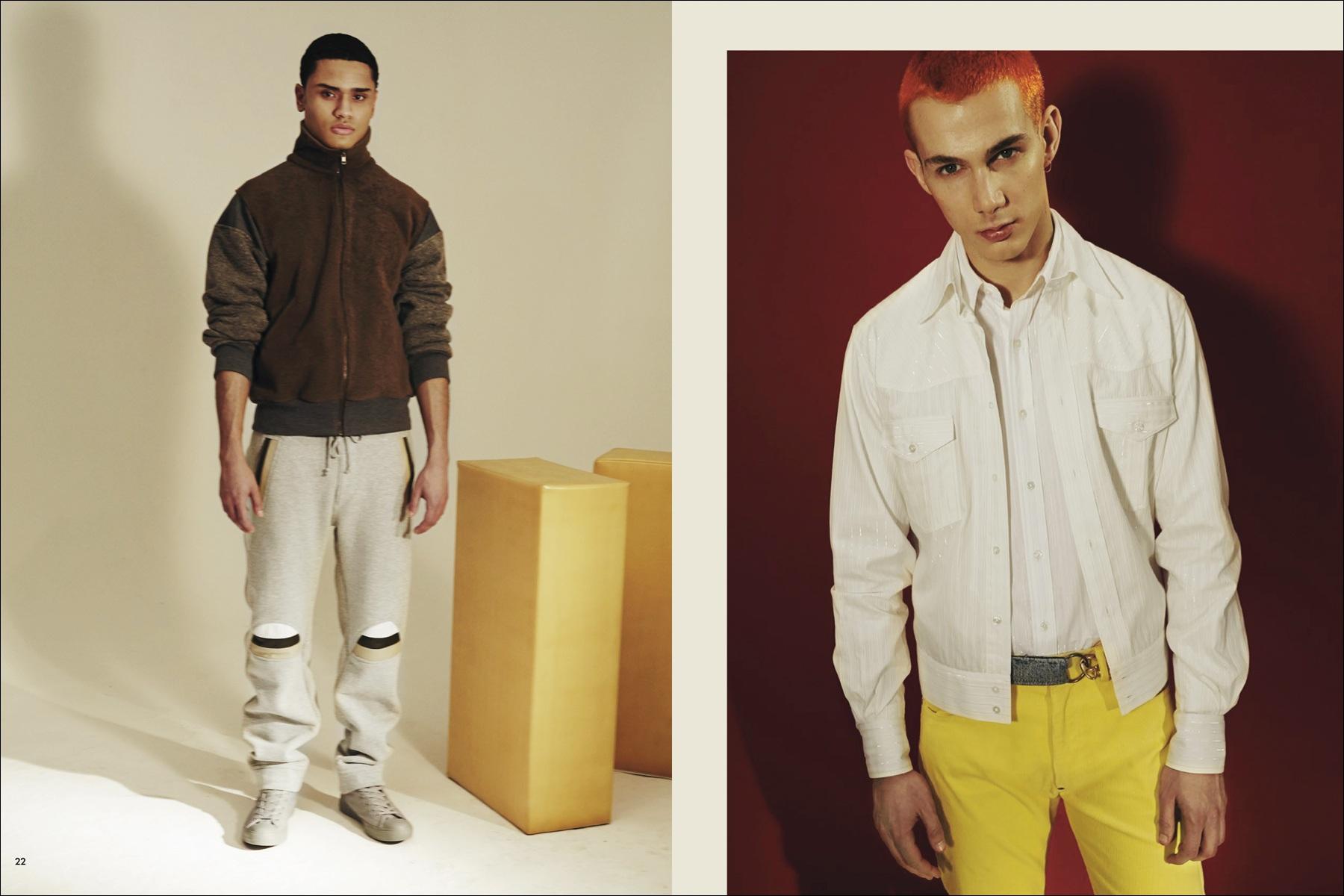 Models Dante Serje and Jacopo Olmo for Martin Keehn F/W16 menswear lookbook. Photography by Simon Cave. Ponyboy magazine NY.