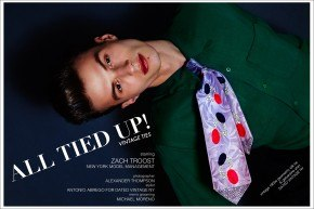 "Model Zach Troost from New York Model Management, stars in a vintage menswear editorial ""All Tied Up!"" Photographed by Alexander Thompson for Ponyboy magazine."