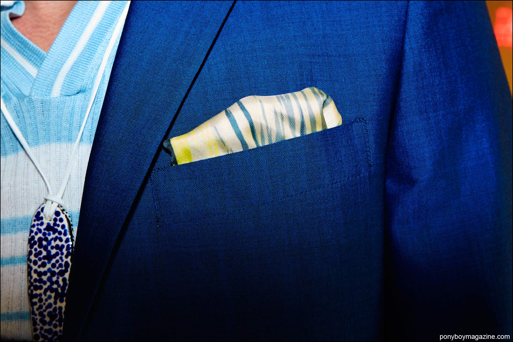 A detail shot of a pocket square, photographed backstage at David Hart S/S17 menswear show by Alexander Thompson for Ponyboy magazine NY.