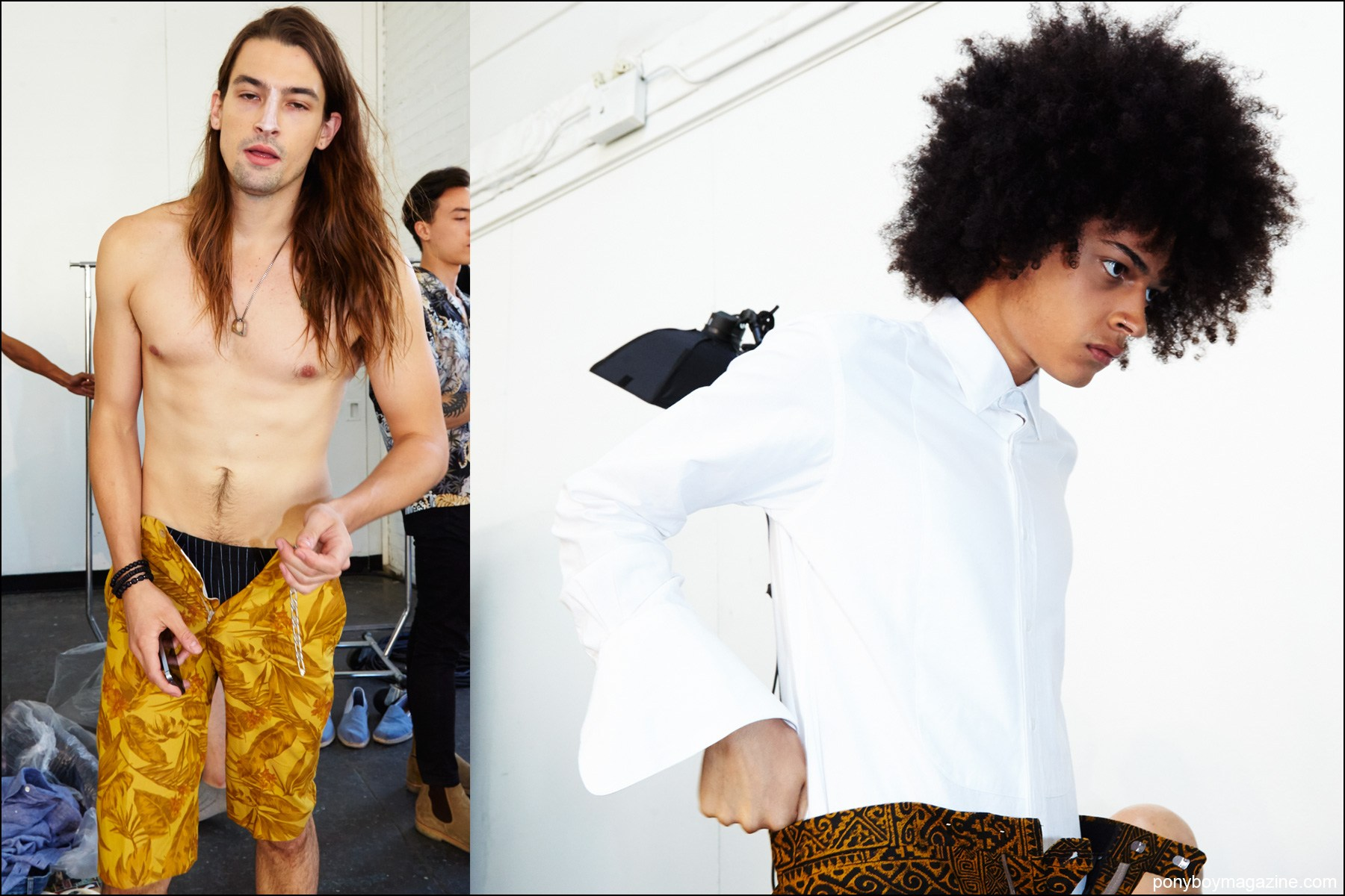 Snaps of male model's getting dressed, backstage at David Hart S/S17 menswear show. Photographed by Alexander Thompson for Ponyboy magazine NY.