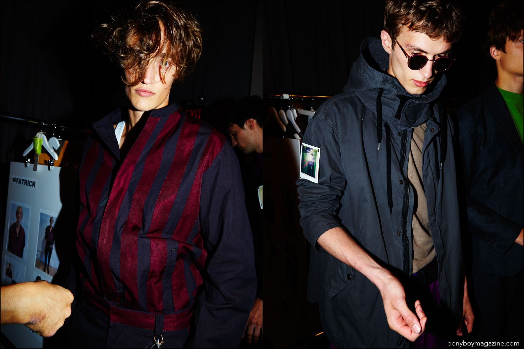 Model Zach Troost snapped backstage at Robert Geller Spring/Summer 2017 menswear show by Alexander Thompson for Ponyboy magazine NY.