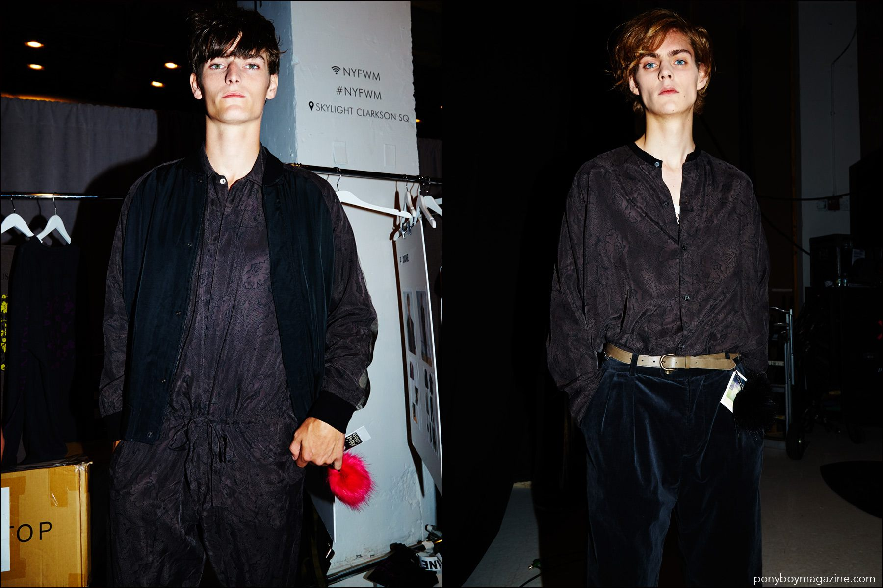 Male models Alexander Beck and Mats Van Snippenberg photographed backstage at Robert Geller Spring/Summer 2017 menswear show. Photography by Alexander Thompson for Ponyboy magazine NY.