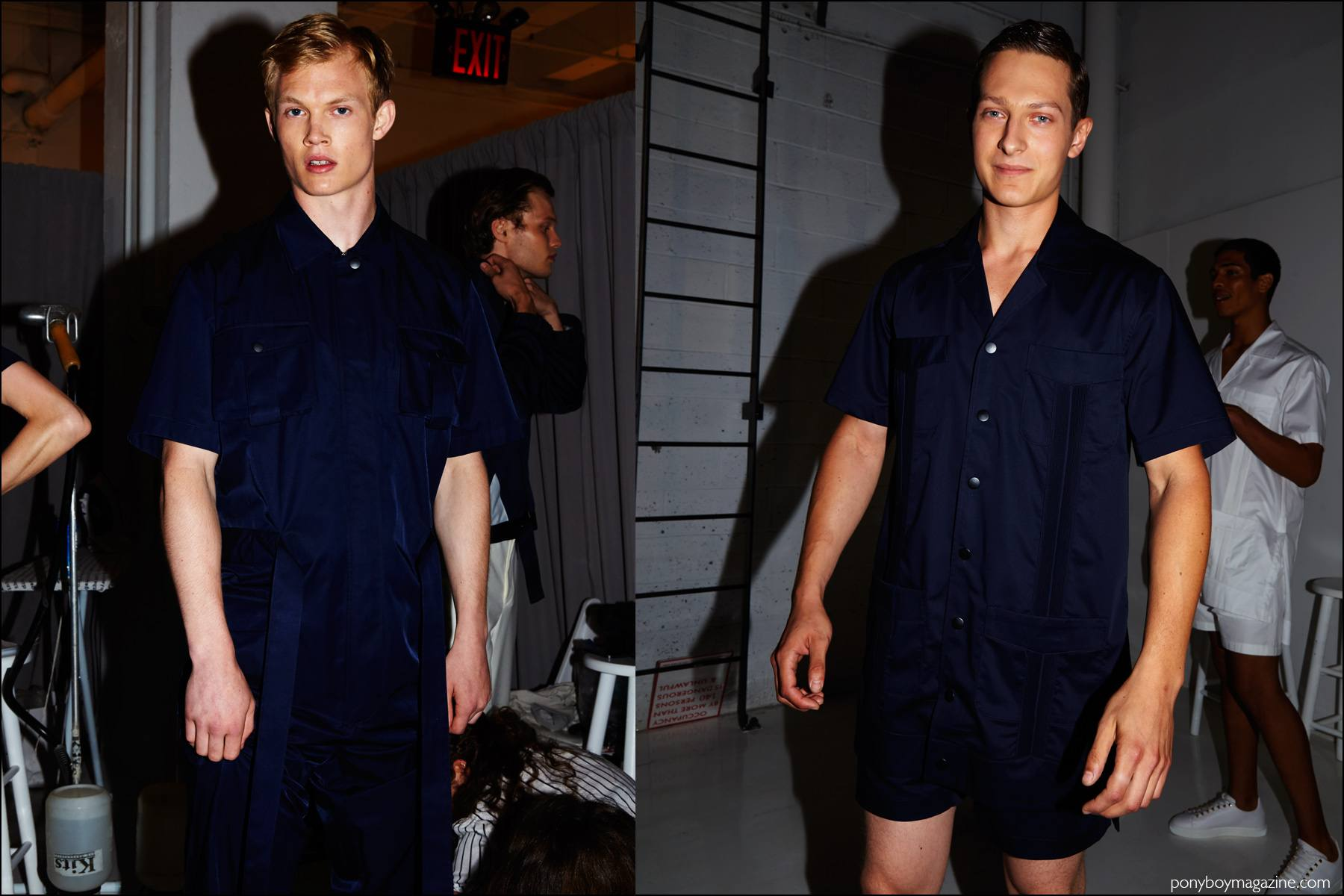 Models Alijah Harrison and Dmitry Brylev photographed backstage at Carlos Campos Spring/Summer 2017 menswear show. Photography by Alexander Thompson for Ponyboy magazine NY.