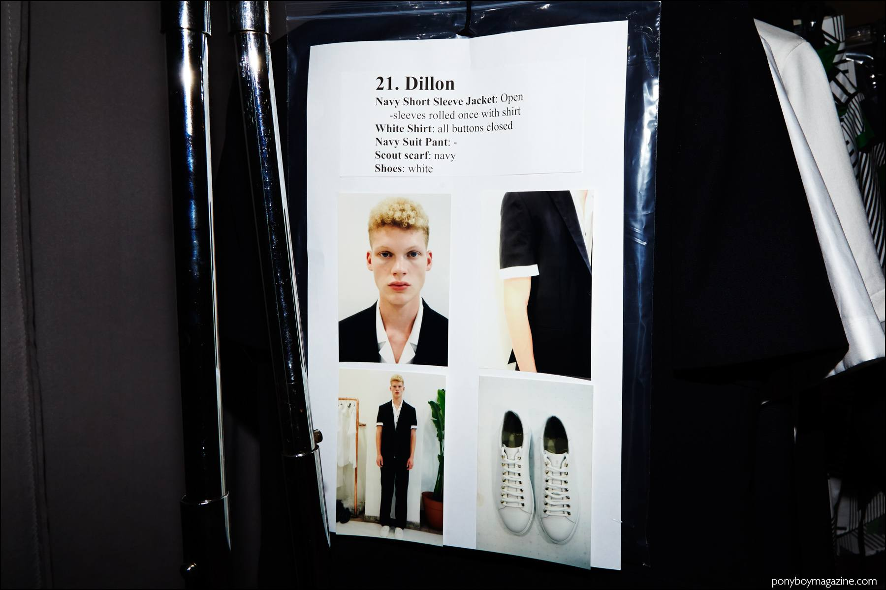 Model's dressing card for Dillon Westbrock. Photographed backstage at Carlos Campos Spring/Summer 2017 menswear show by Alexander Thompson for Ponyboy magazine NY.