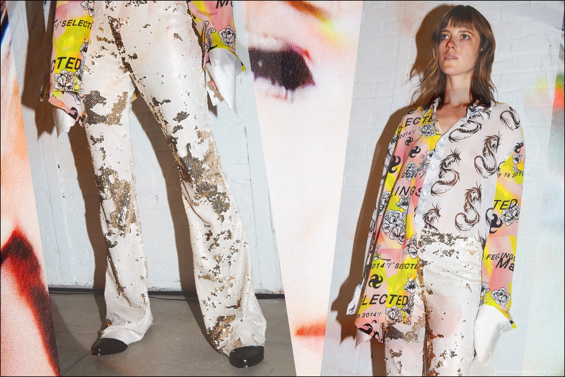 A female model wears sequin boot-cut pants and a silk printed top, snapped backstage at the Devon Halfnight Leflufy Spring/Summer 2017 collection. Photography by Alexander Thompson for Ponyboy magazine NY.