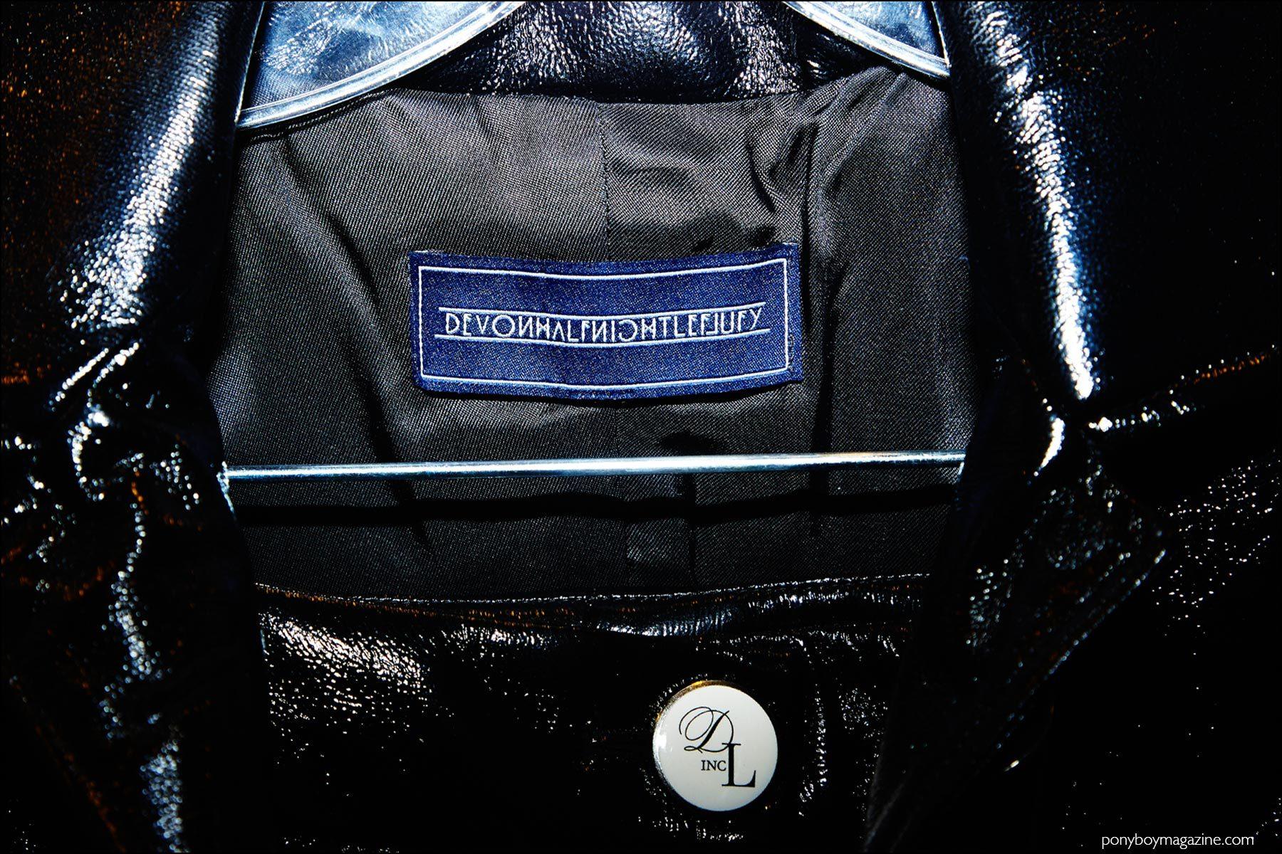 The label inside a vinyl coat photographed backstage at Devon Halfnight Leflufy S/S17 menswear show. Photography by Alexander Thompson for Ponyboy magazine NY.