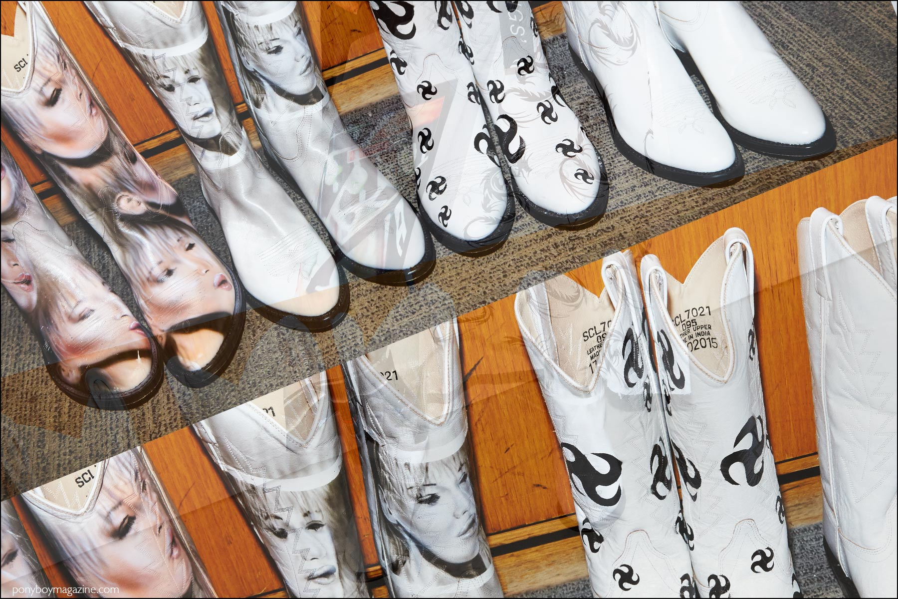 Airbrushed images on cowboy boots, backstage at Devon Halfnight Leflufy Spring/Summer 2017. Photography by Alexander Thompson for Ponyboy magazine NY.
