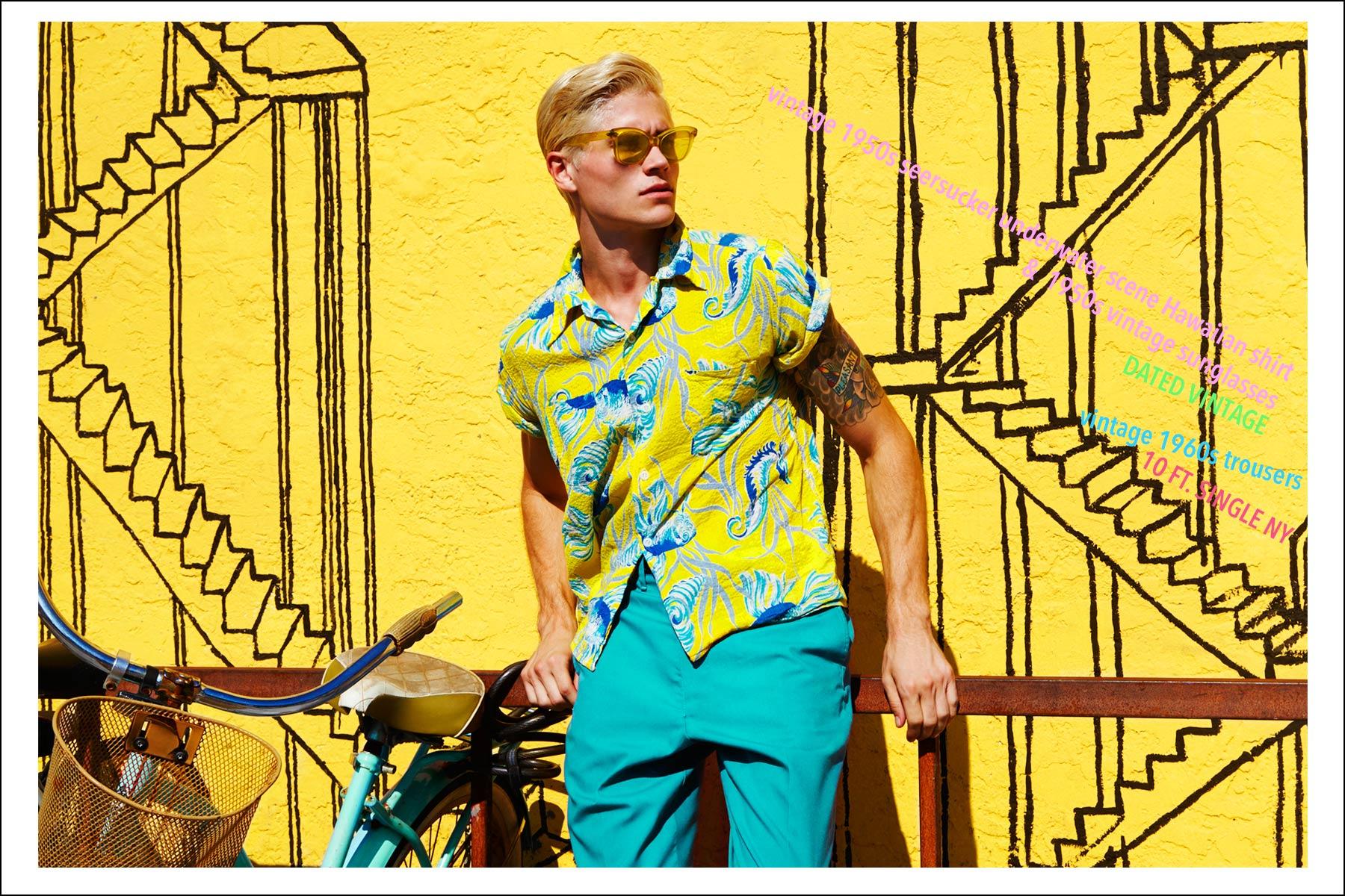 Male model Jake Filling photographed for Ponyboy magazine NY vintage menswear editorial, Rockin Rockaways by Alexander Thompson.
