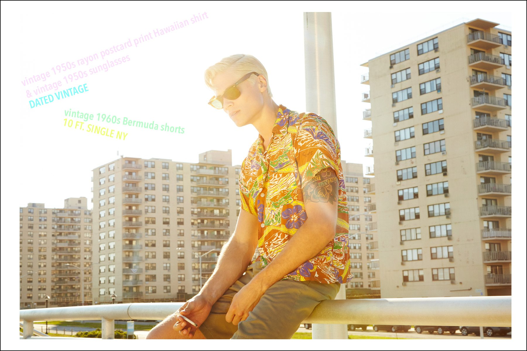 Model Jake Filling wears a vintage 1950s Hawaiian shirt from Dated Vintage. Photographed by Alexander Thompson for Ponyboy magazine NY.