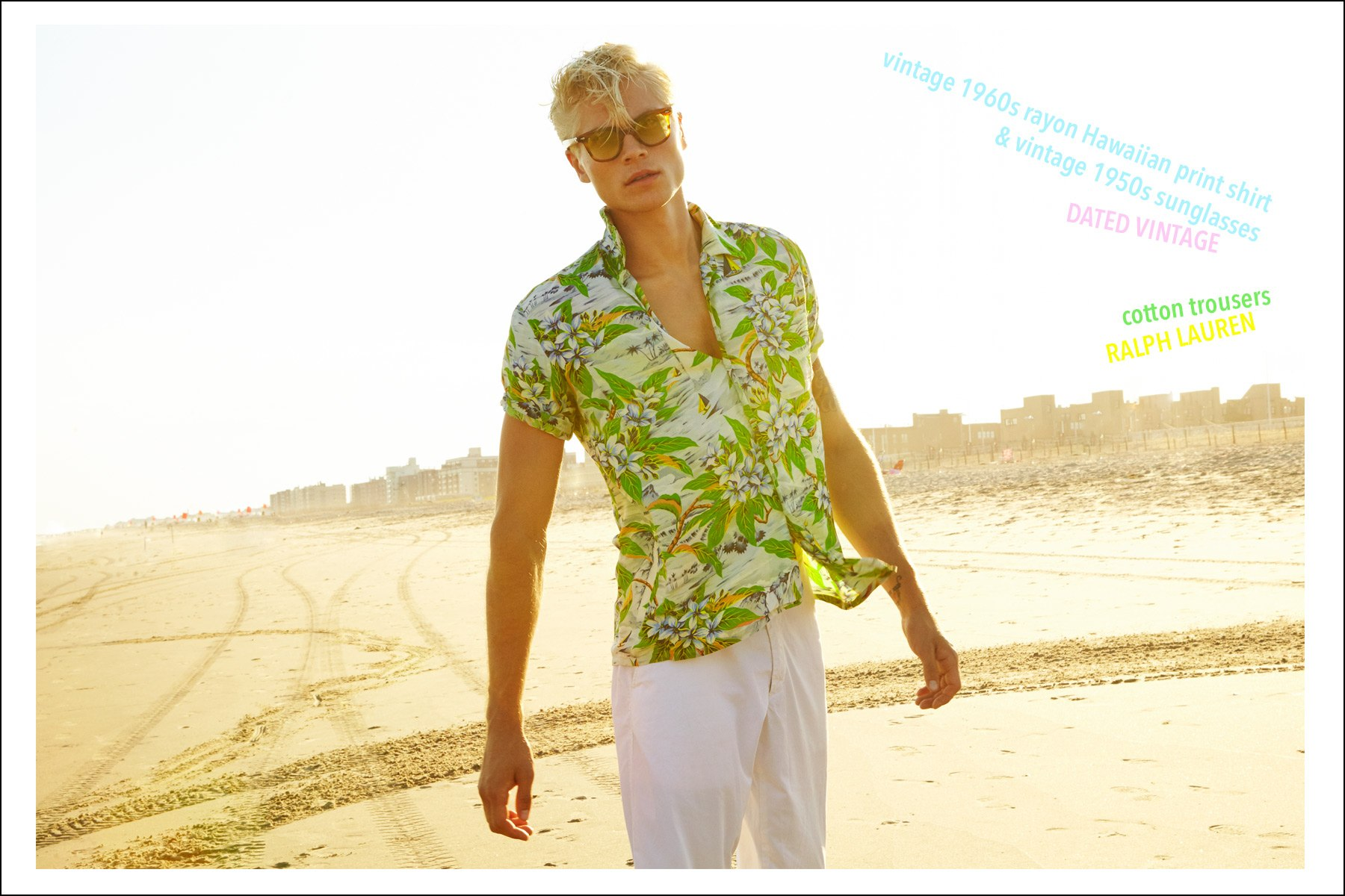 Jake Filling photographed by Alexander Thompson in a vintage rayon Hawaiian shirt from Dated Vintage. Ponyboy magazine NY.