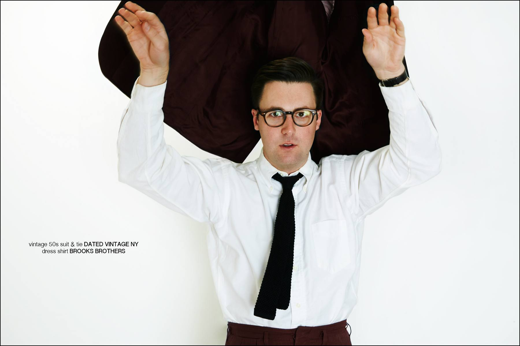 Musician Nick Waterhouse wears a Brooks Brothers shirt and vintage suit & tie from Dated Vintage NY. Photographed by Alexander Thompson for Ponyboy magazine New York.