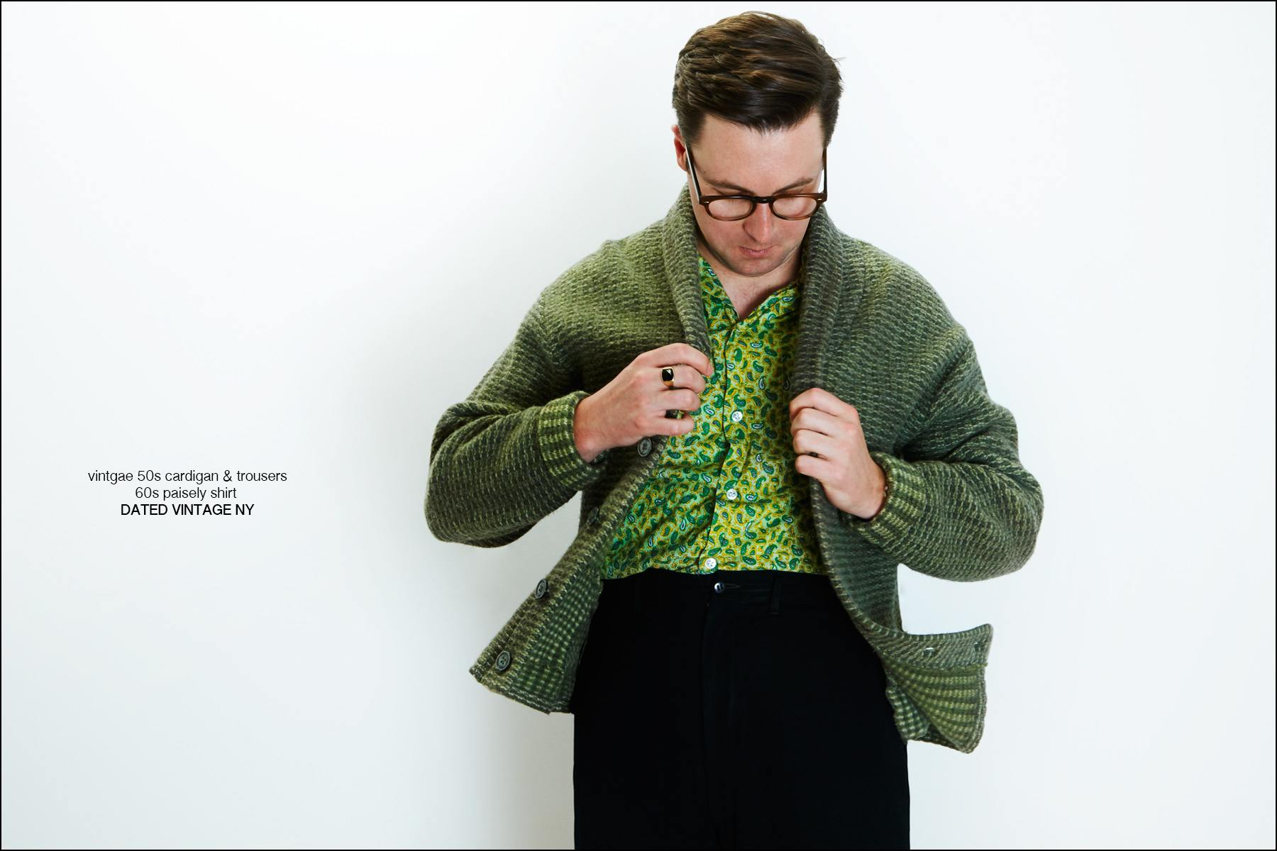 Musician Nick Waterhouse adjusts a vintage cardigan from Dated Vintage NY. Photographed by Alexander Thompson in New York City for Ponyboy magazine.