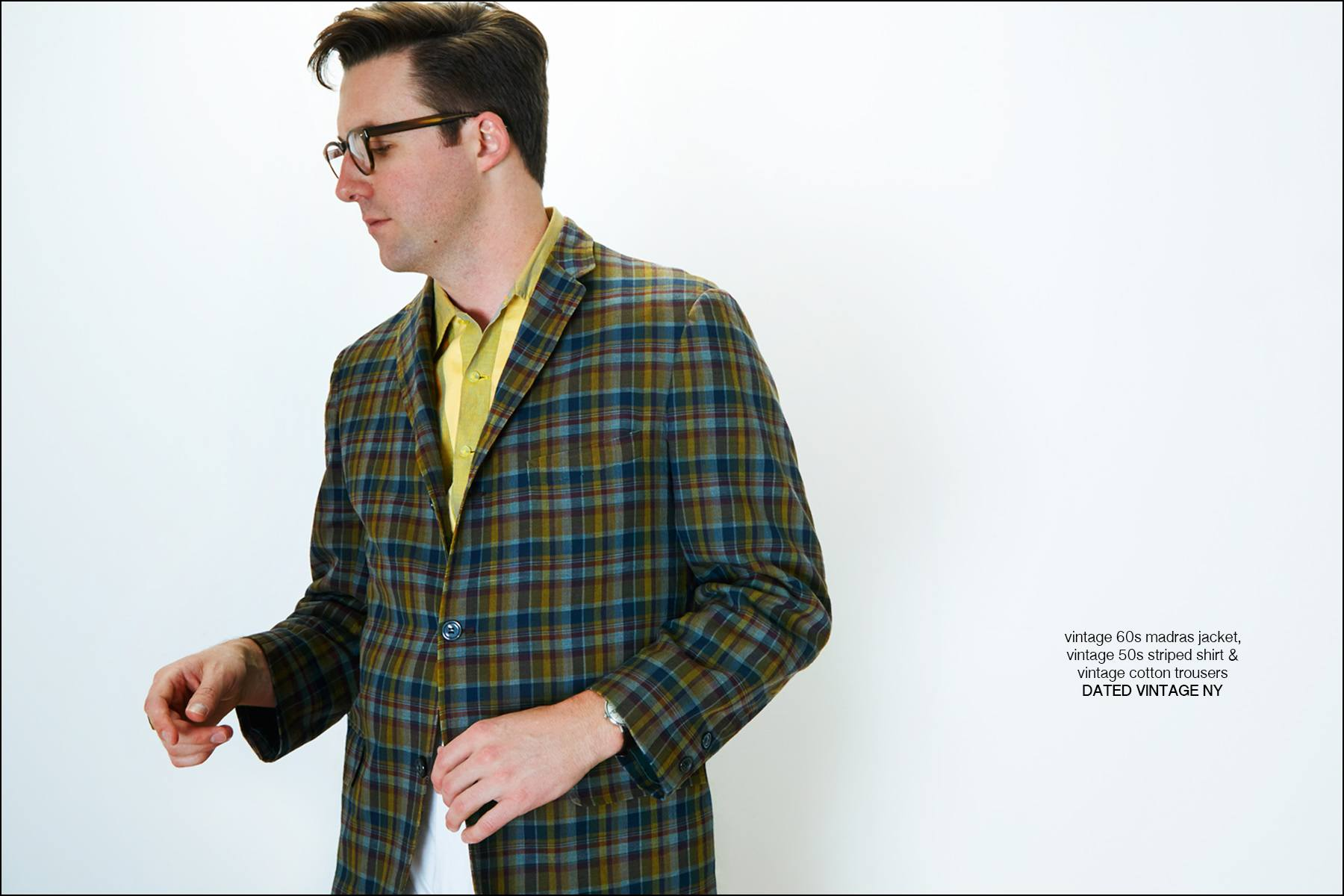 Muscian/dj Nick Waterhouse photographed in vintage menswear from Dated Vintage NY. Photography by Alexander Thompson for Ponyboy magazine New York.