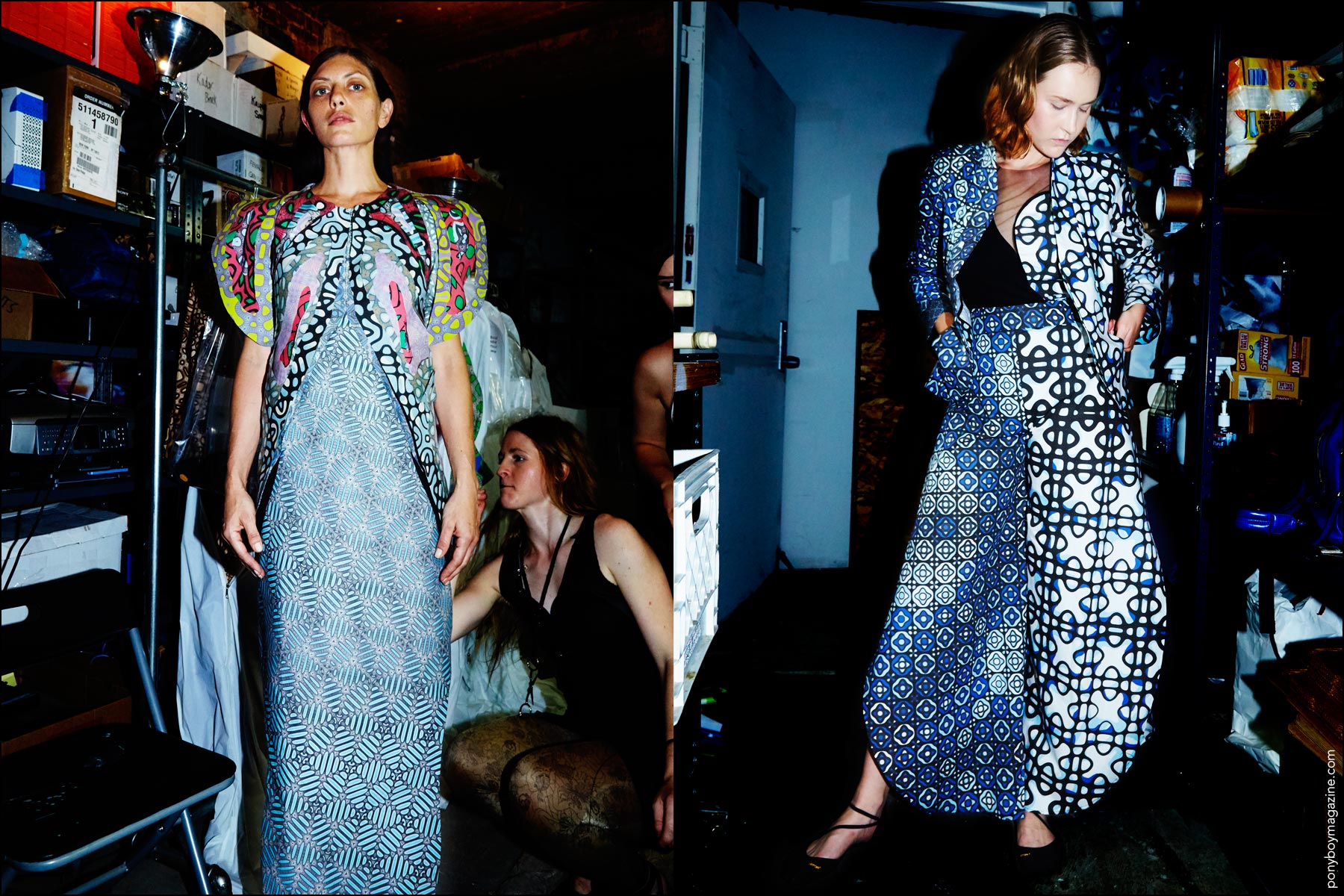 Bold printed clothing backstage at threeASFOUR Spring 2017 collection in New York City. Photographed by Alexander Thompson for Ponyboy magazine NY.