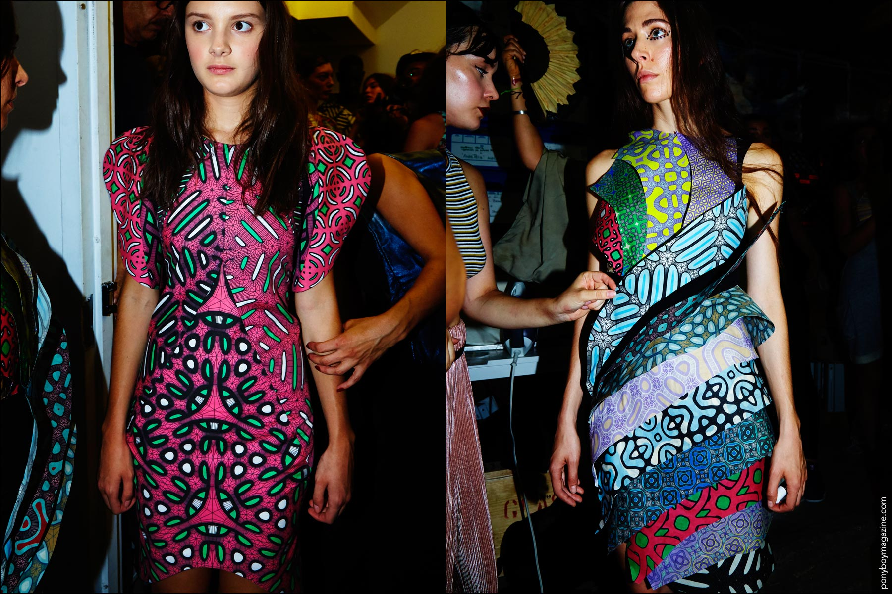 Bold patterned dresses photographed on models backstage at threeASFOUR Spring 2017 collection. Photography by Alexander Thompson for Ponyboy magazine.