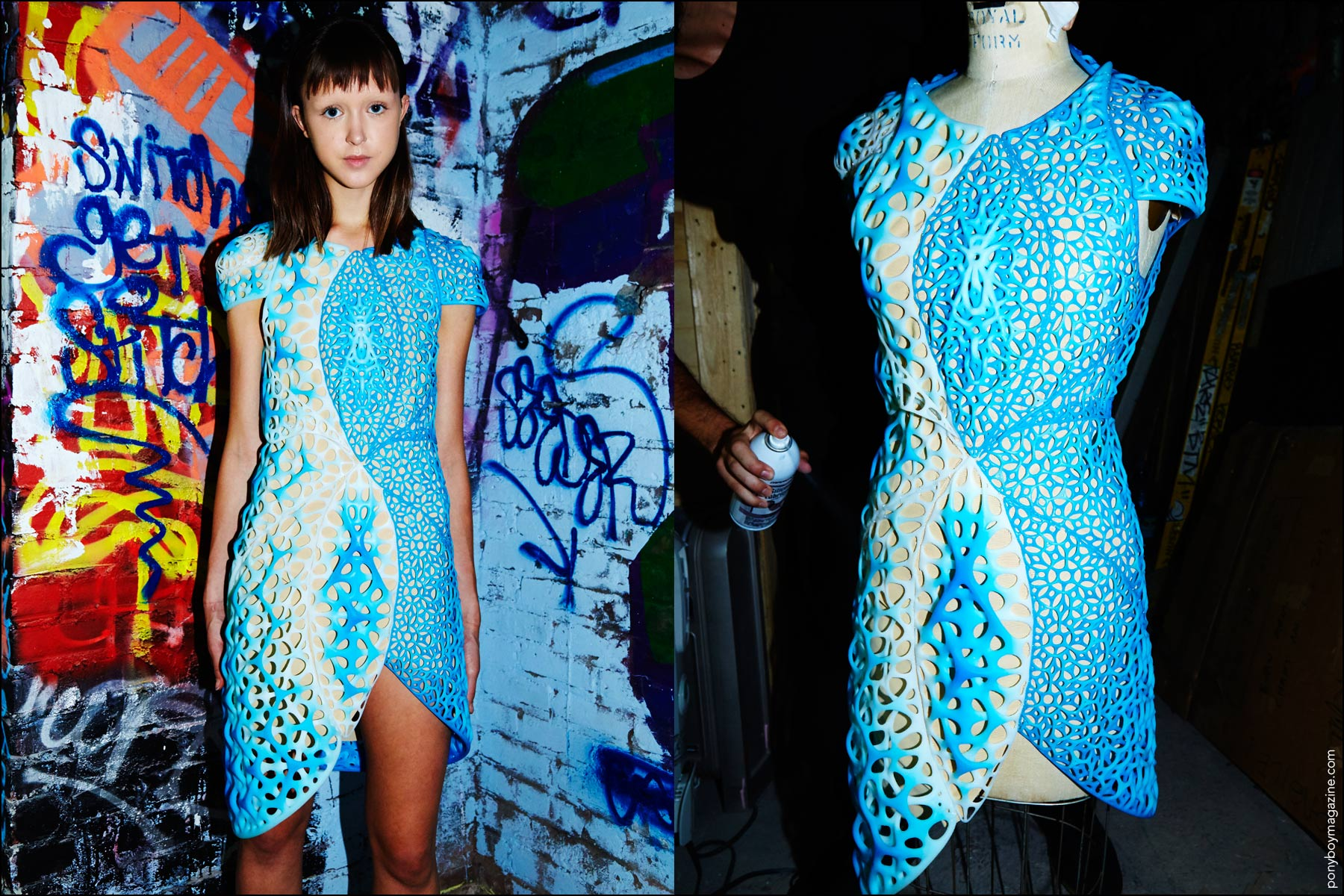 A 3-d print dress photographed backstage at the threeASFOUR Spring 2017 show. Photographed by Alexander Thompson for Ponyboy magazine NY.