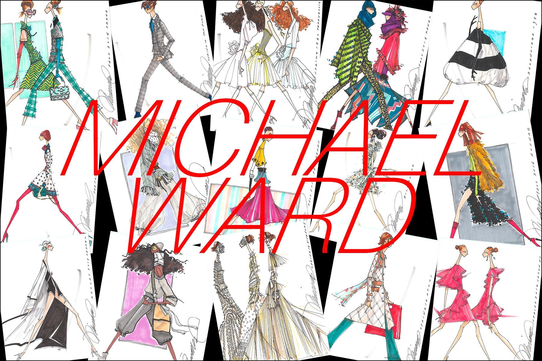 Michael Ward fashion illustrations. Ponyboy magazine.