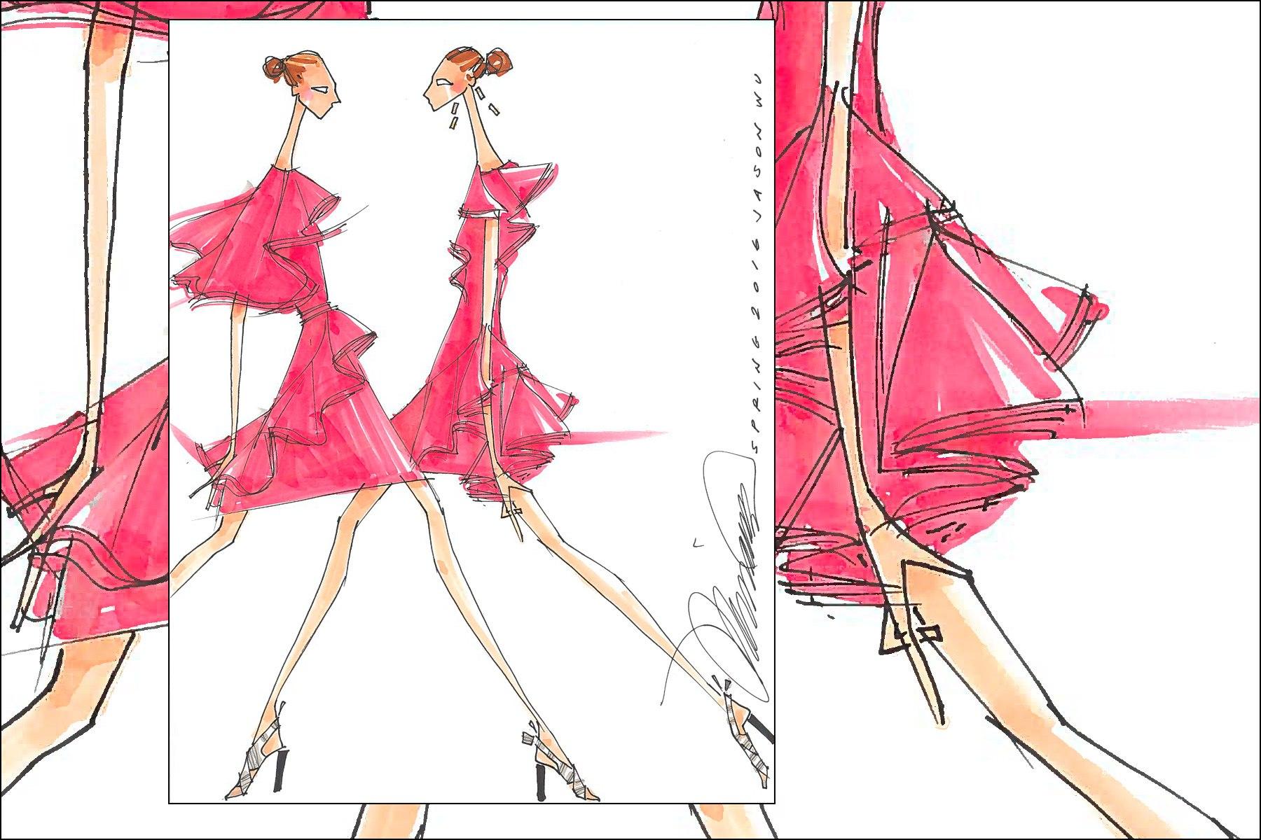 Jason Wu Spring 2016 fashion illustration by Michael Ward. Ponyboy magazine New York.