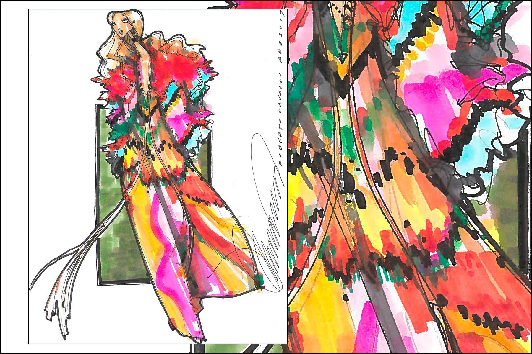 Roberto Cavalli Resort 2017 fashion illustration by Michael Ward. Ponyboy magazine New York.