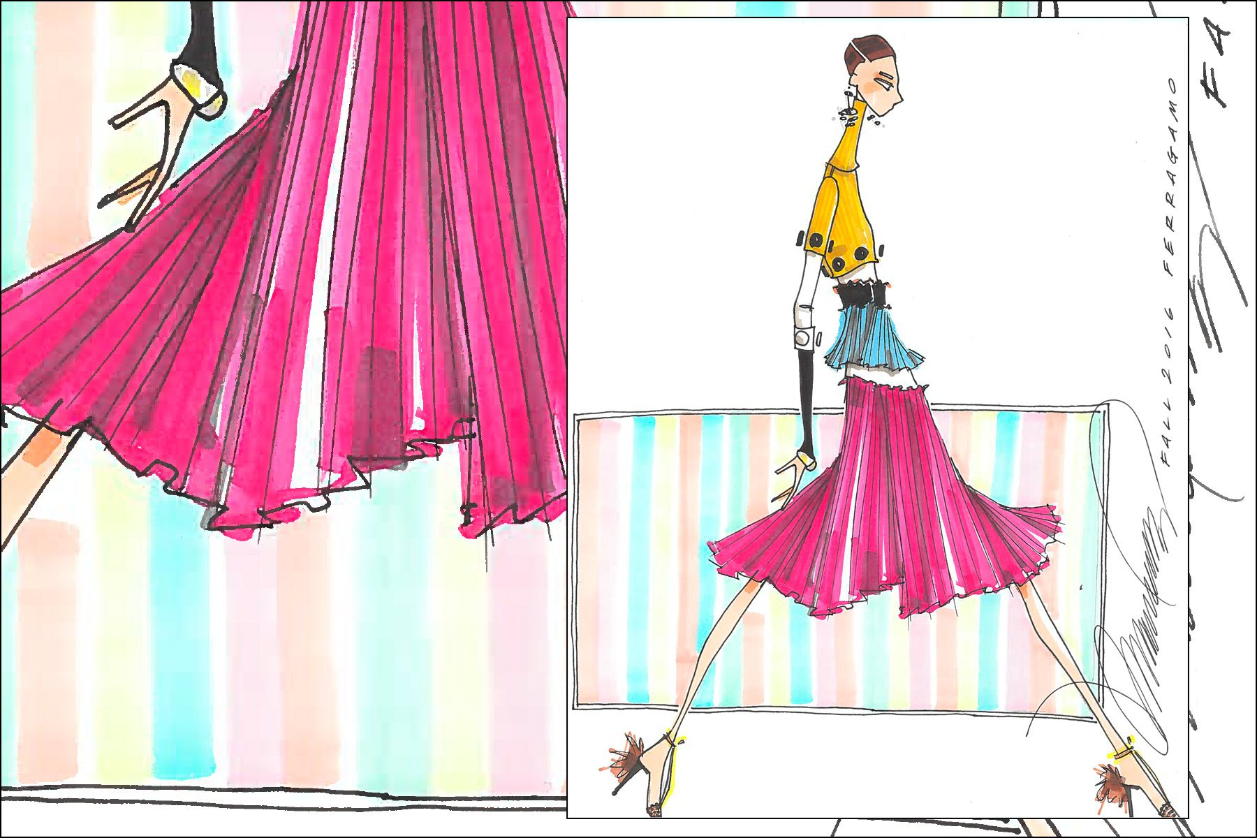 Fall 2016 Ferragamo fashion illustration by Michael Ward. Ponyboy magazine New York.