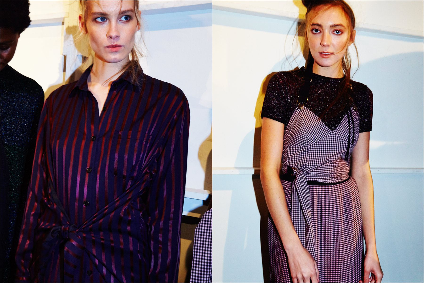 Models in stripes and gingham, backstage at the Adam Selman Fall 2017 womenswear show in New York City. Photographed by Alexander Thompson for Ponyboy magazine.