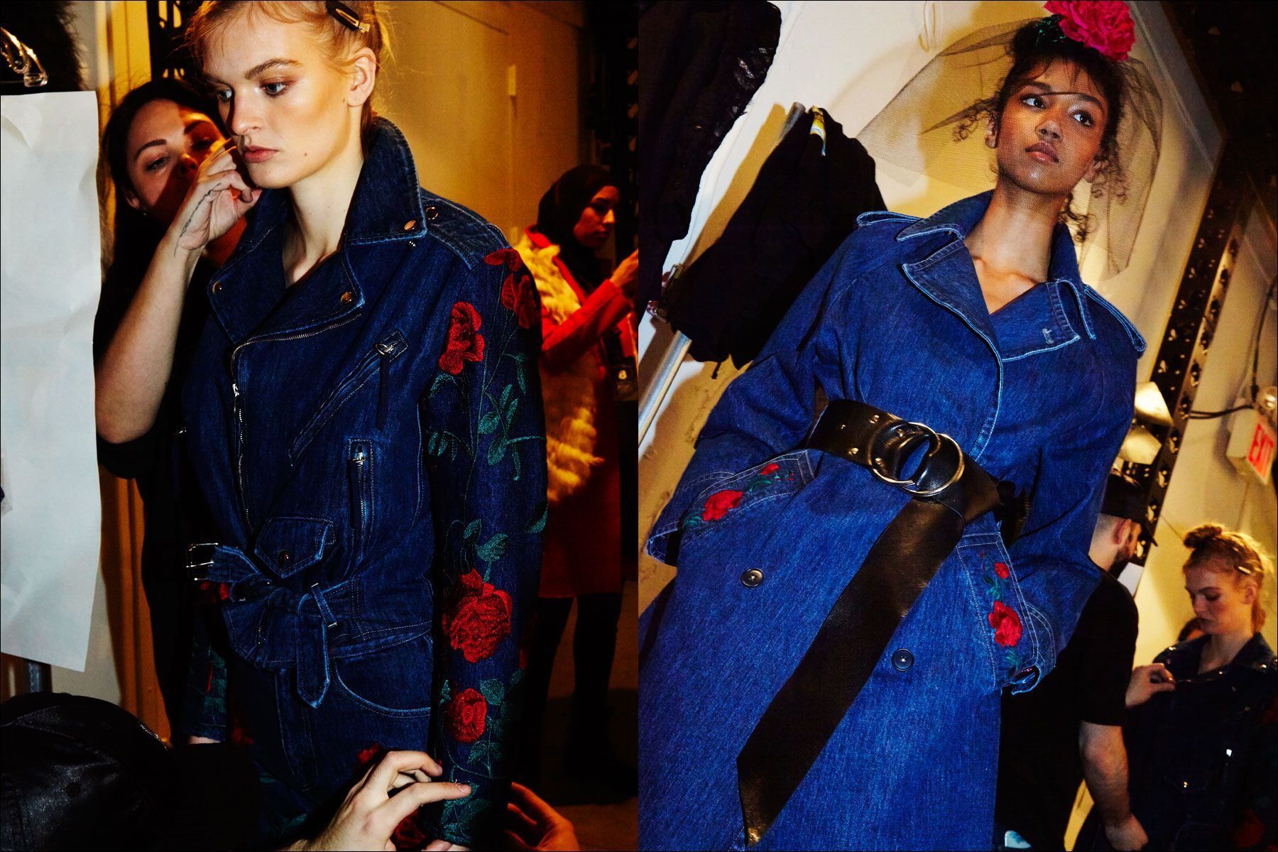 Models Juliane Grüner & Aiden Curtiss snapped before walking at Adam Selman Fall 2017. Photography by Alexander Thompson for Ponyboy magazine New York.