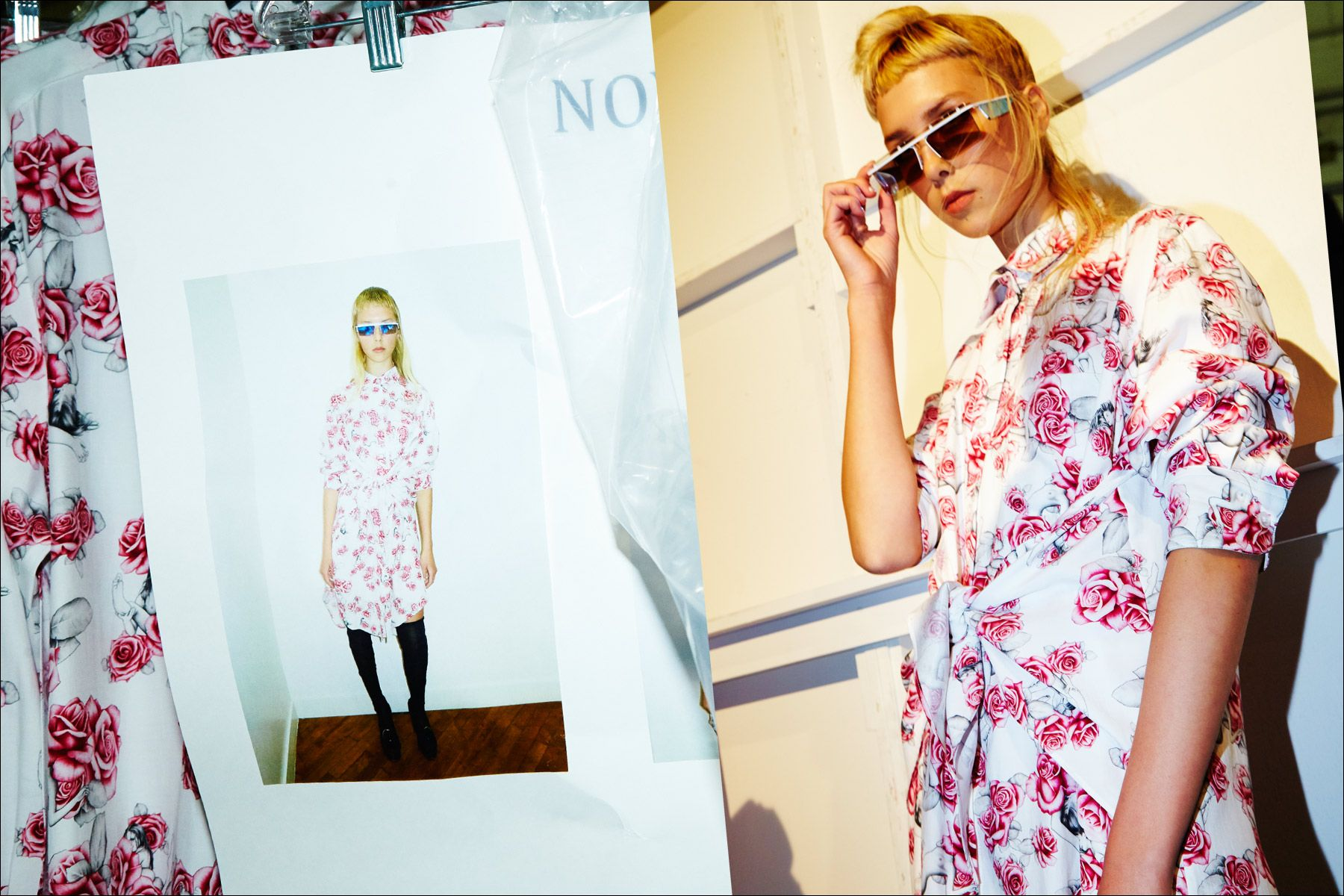 A model wears square cut sunglasses and rose print dress, backstage at the Adam Selman Fall 2017 womenswear show. Photographed by Alexander Thompson for Ponyboy magazine NY.