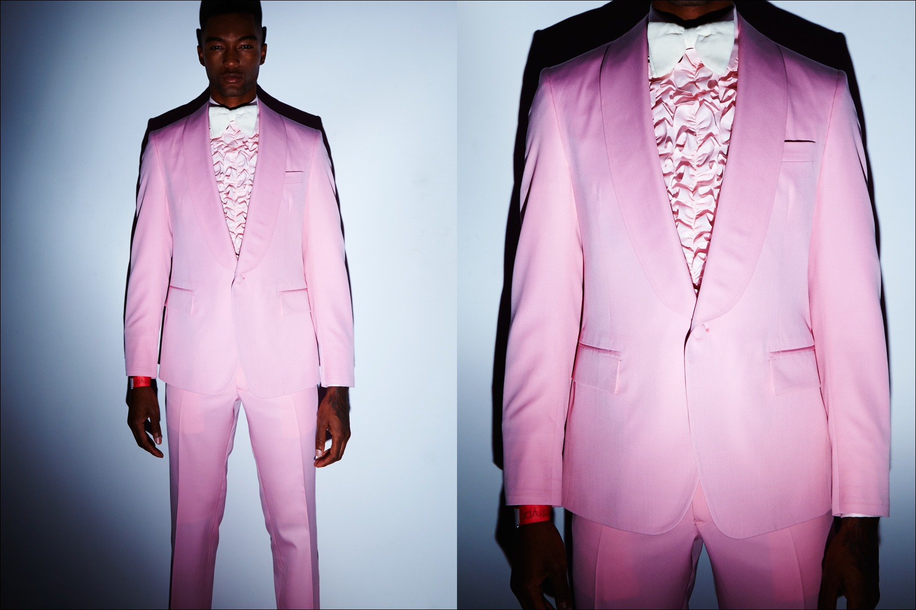 A pink pastel tuxedo from the David Hart Fall/Winter 2017 menswear collection. Photography by Alexander Thompson for Ponyboy magazine New York.