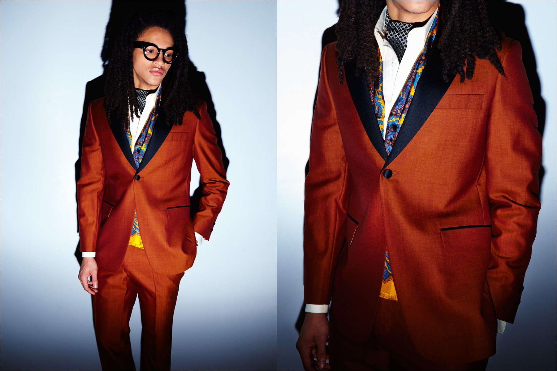 A male model wears an orange tuxedo by designer David Hart, for Fall/Winter 2017. Photography by Alexander Thompson for Ponyboy magazine New York.