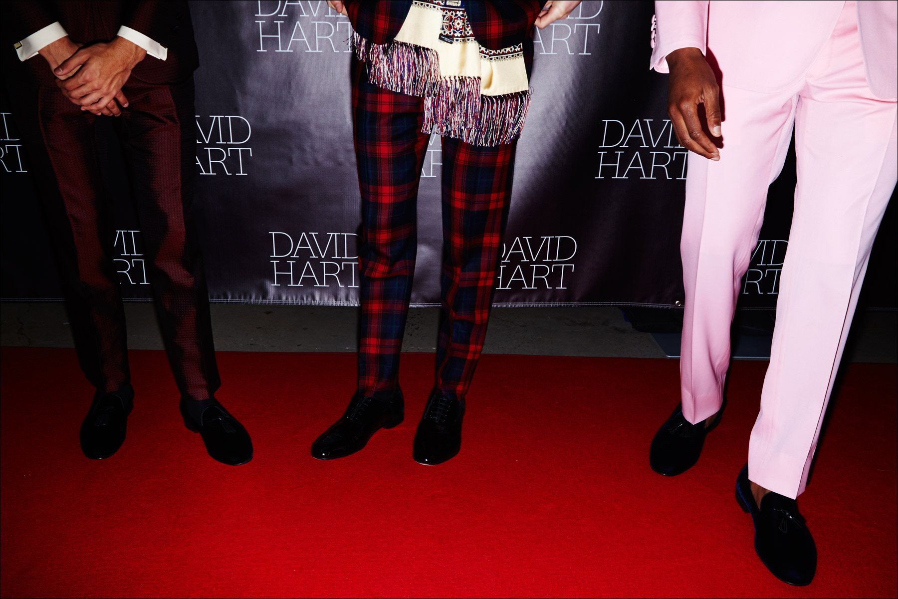 Models tuxedo pants photographed on the David Hart red carpet for Fall/Winter 2017. Photography by Alexander Thompson for Ponyboy magazine NY.