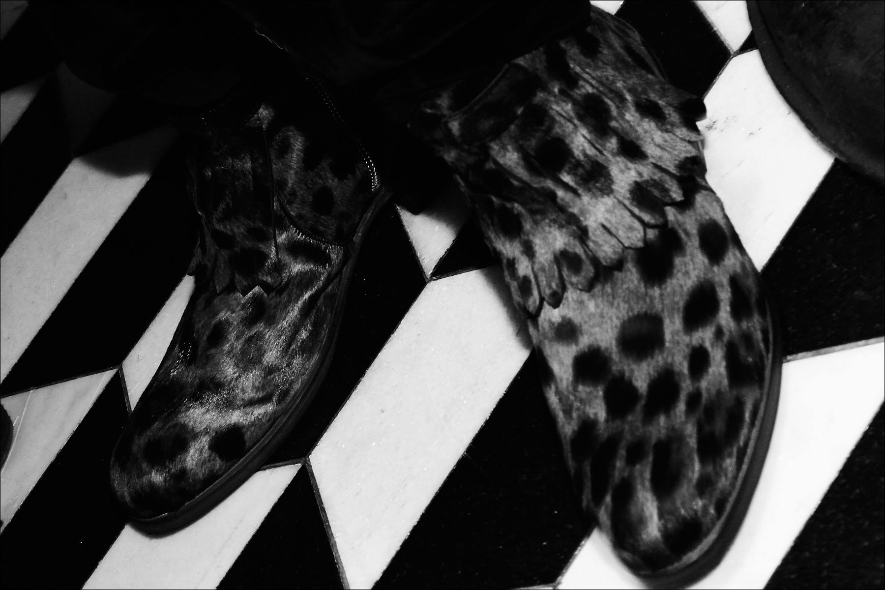 Leopard print ankle boots from John Varvatos Fall/Winter 2017 menswear collection. Photographed backstage by Alexander Thompson for Ponyboy magazine NY.